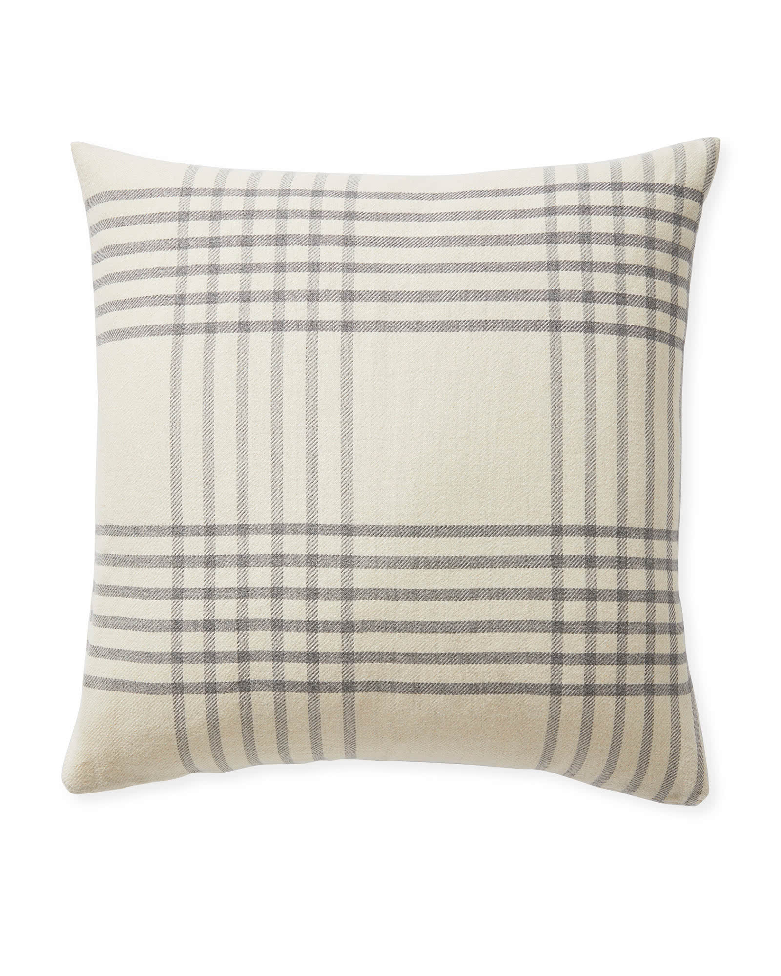 Blakely Plaid Pillow Cover, Ivory/Grey