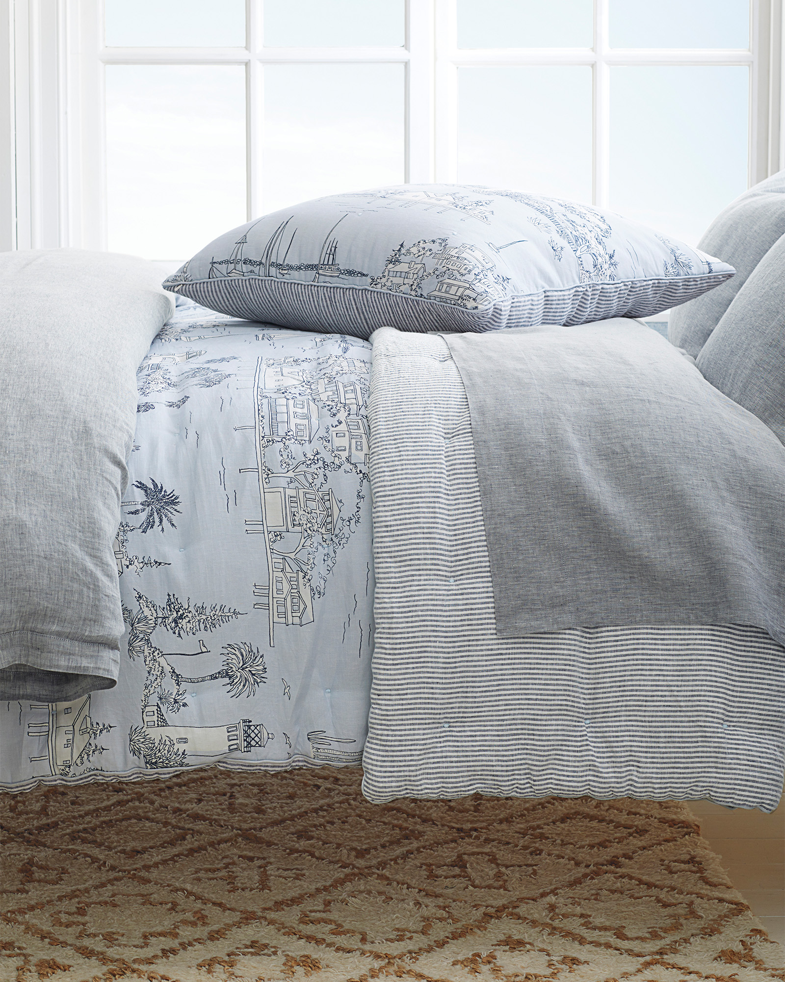 Westwind quilt from Serena & Lily has lovely light blue grey tones and coastal style! #coastalbedroom #quilts #bedding #bluegrey