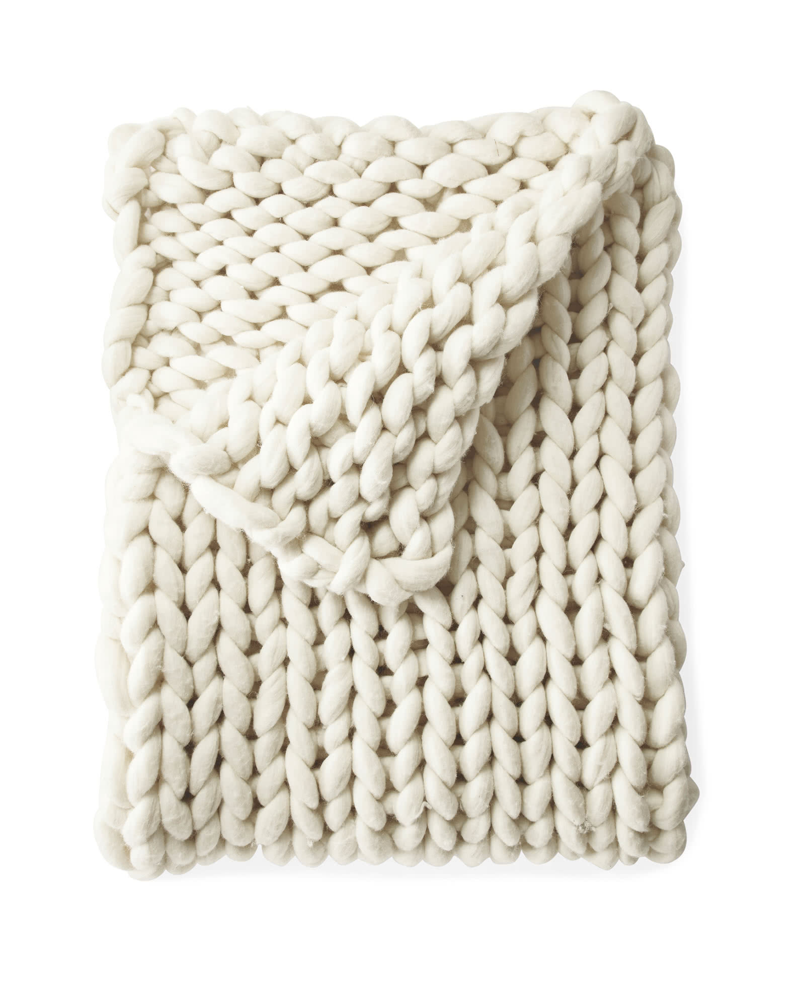 Henley Wool Throw, Ivory