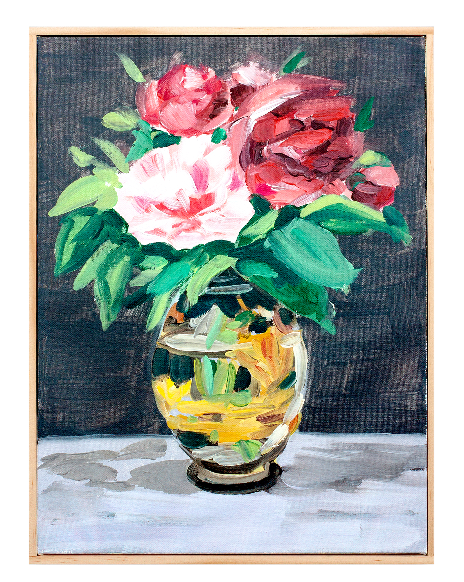 """Arrangement in Venetian Red and Viridian with Peonies"" by Isabel Vexin,"