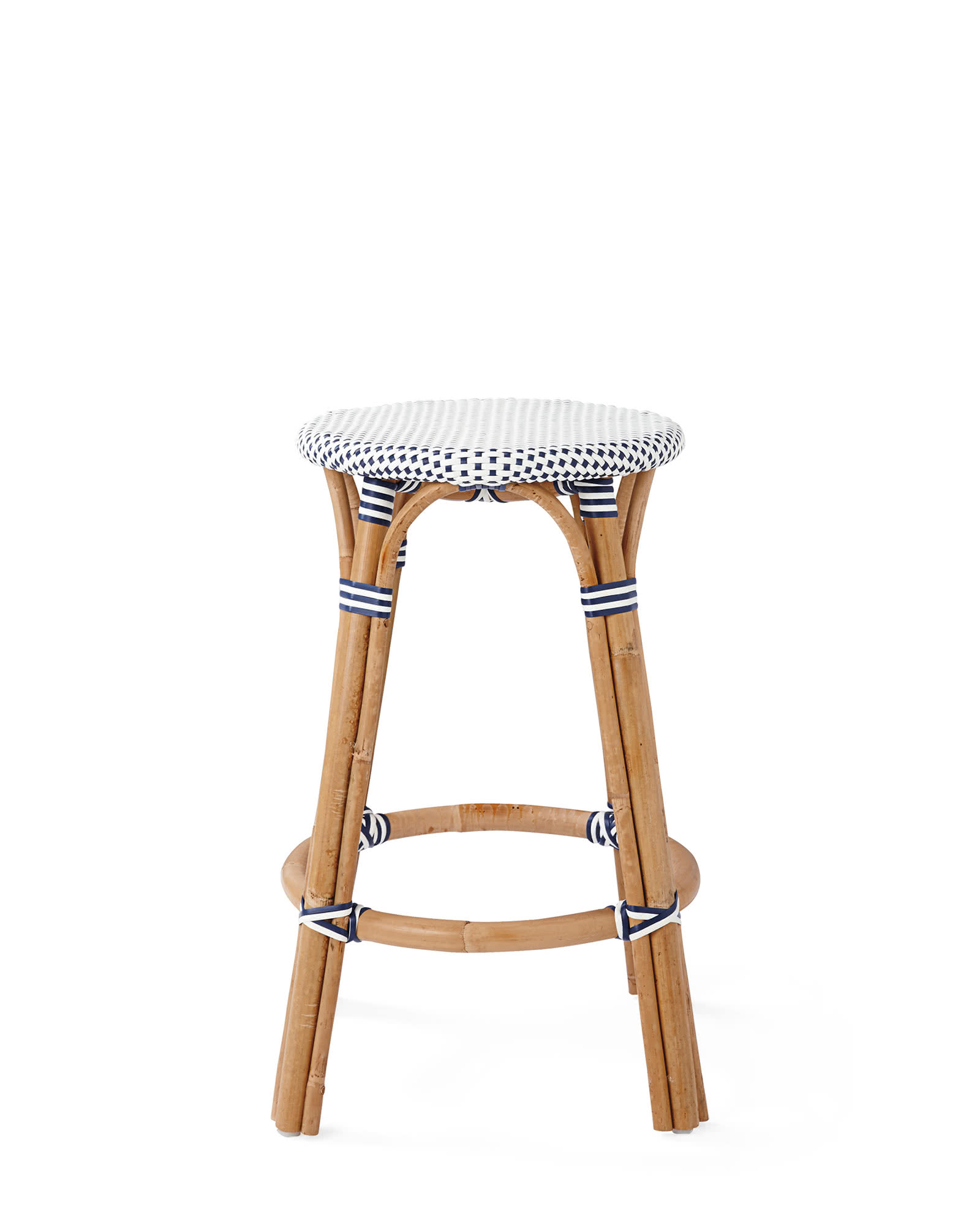 Riviera Backless Counter Stool, Navy/White