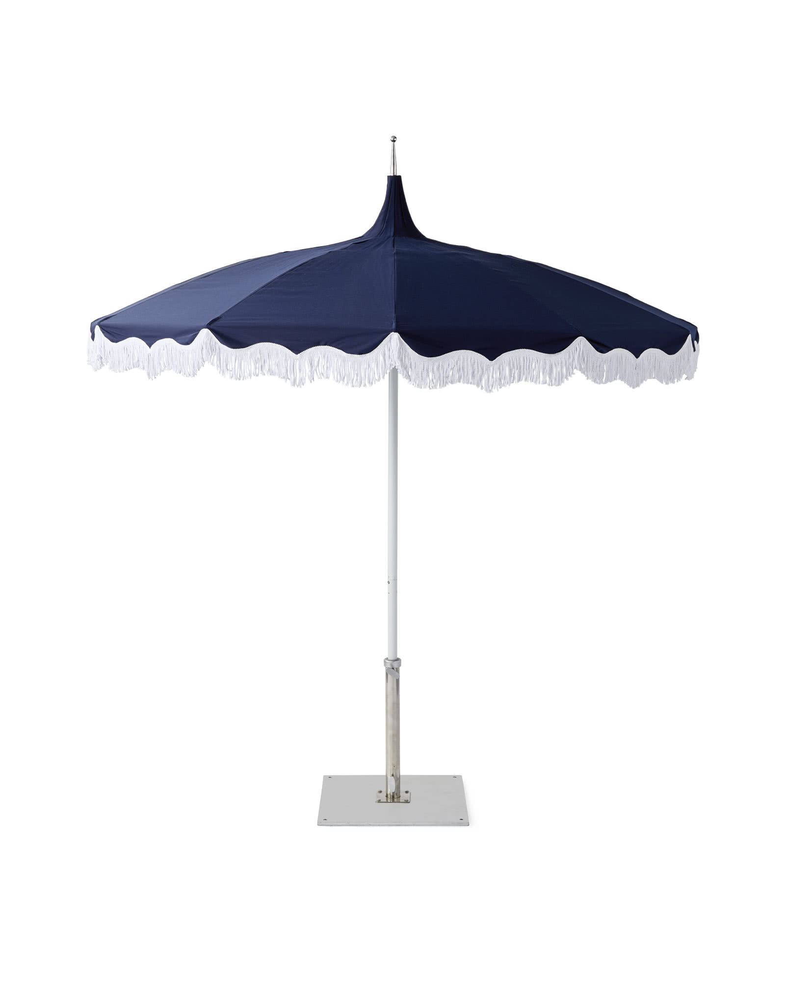 Fringed Umbrella, Navy/White