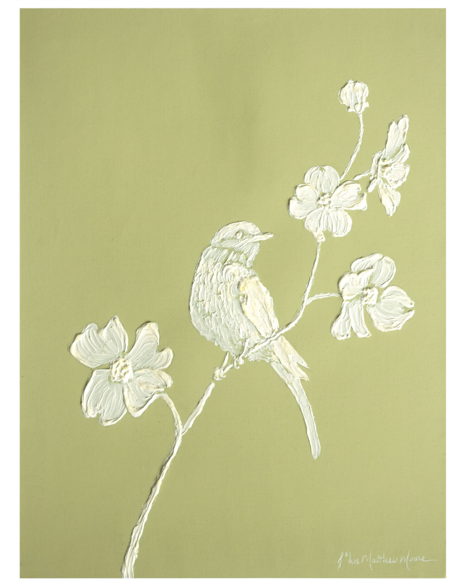 """""""Sculpted Wood Thrush with Dogwood"""" by John Matthew Moore,"""