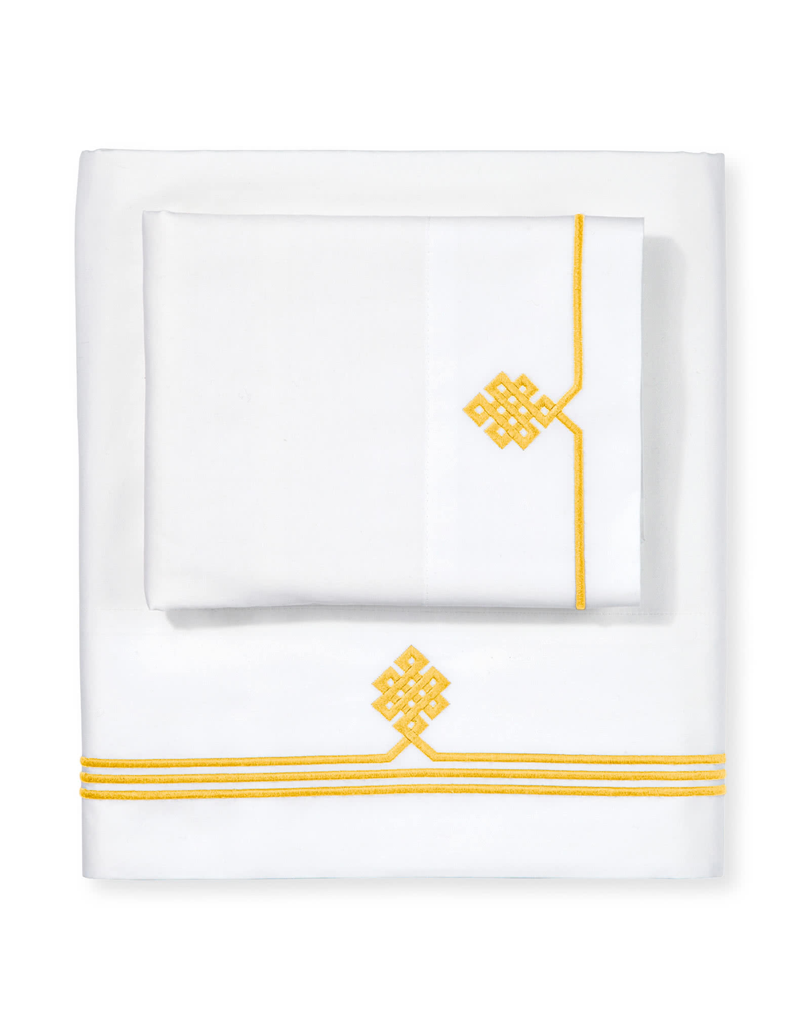 Gobi Embroidered Sheet Set, Canary
