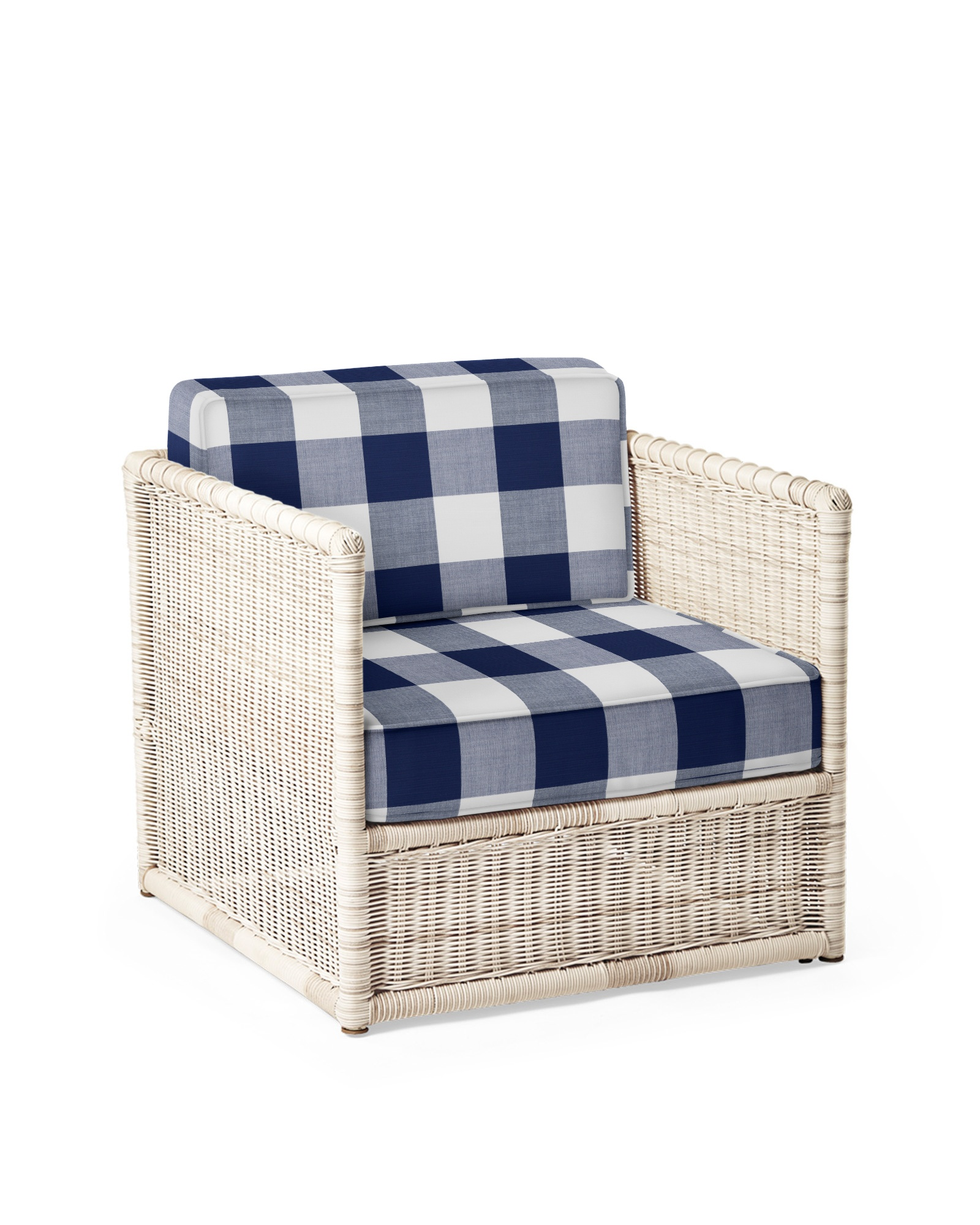 Cushion Cover for Pacifica Lounge Chair, Perennials Gingham Navy
