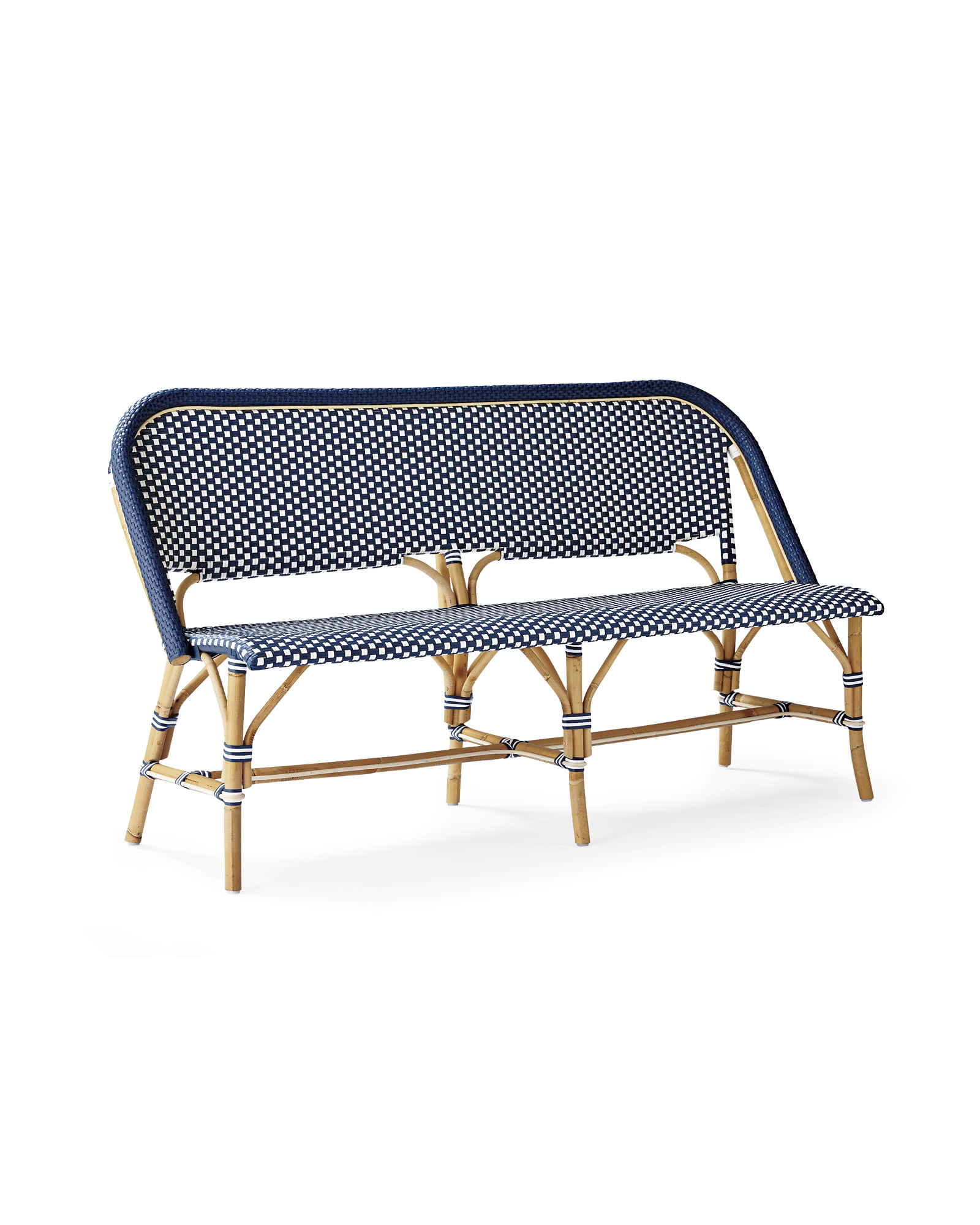 Riviera Bench, Navy/White