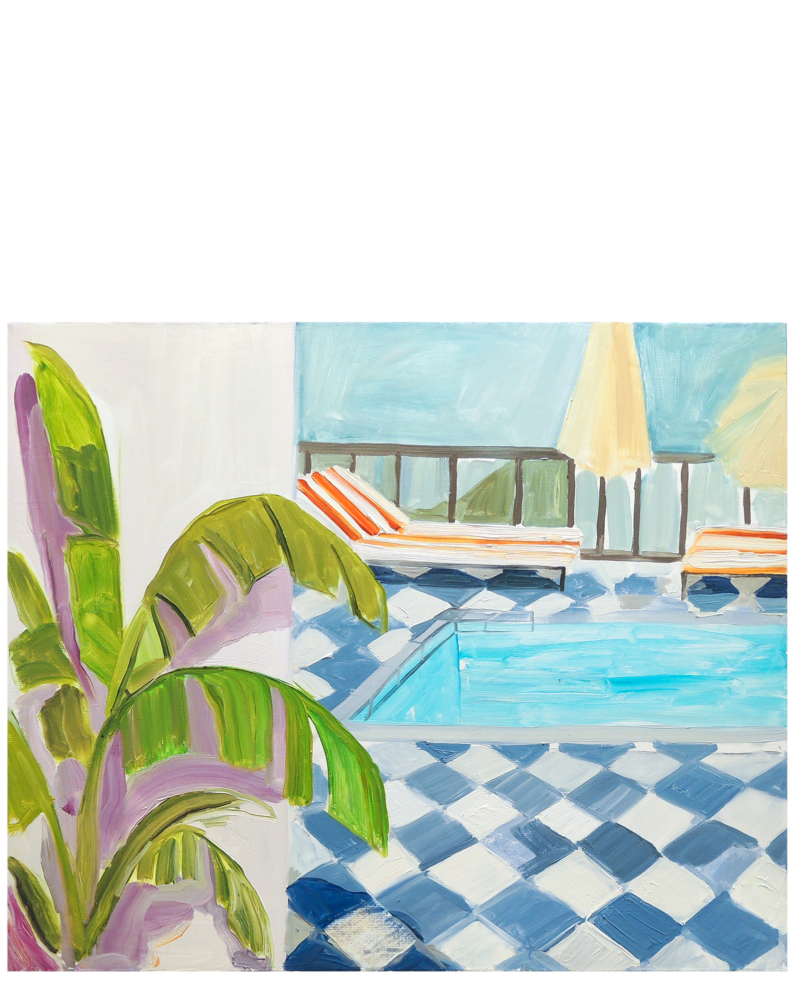 Pool With a View painting by Claire Elliot.