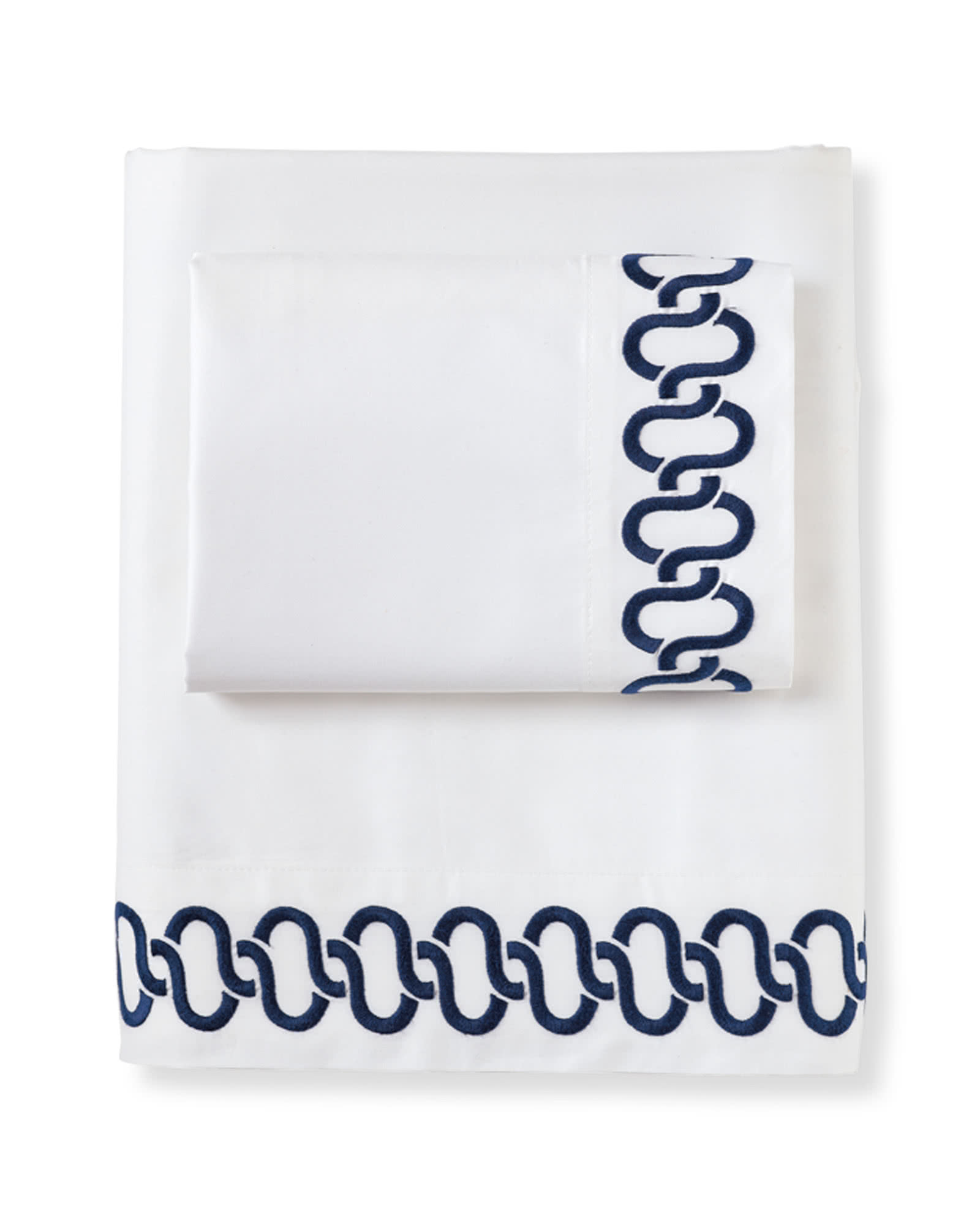 Savoy Links Embroidered Sheet Set, Navy