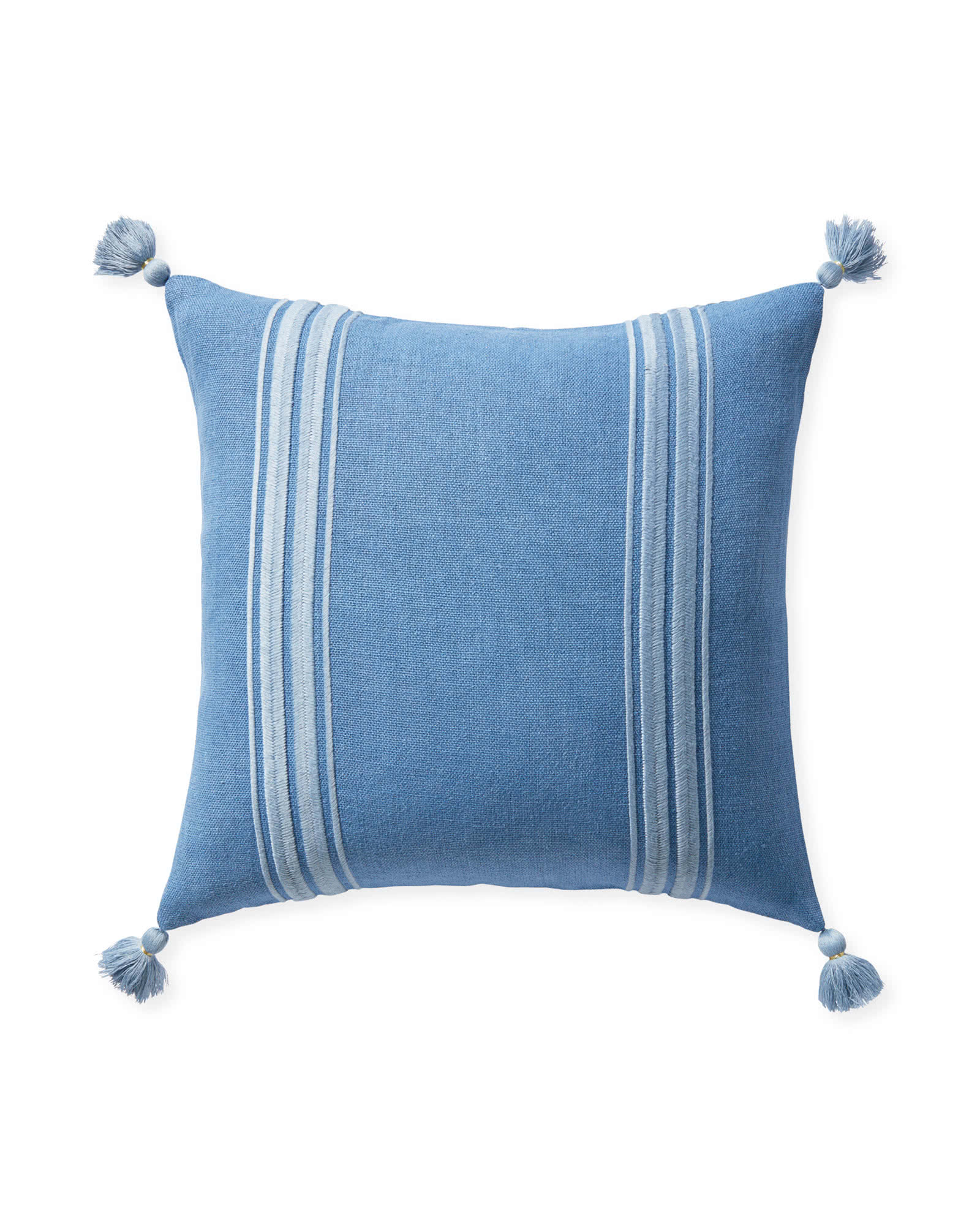 Addie Stripe Tassel Pillow Cover, Harbor