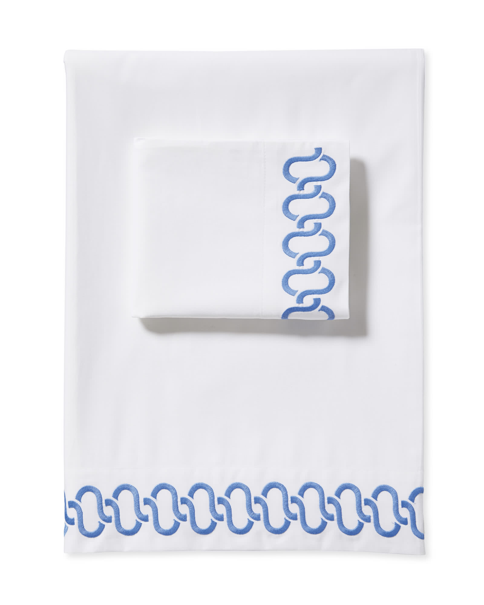 Savoy Embroidered Sheet Set, French Blue