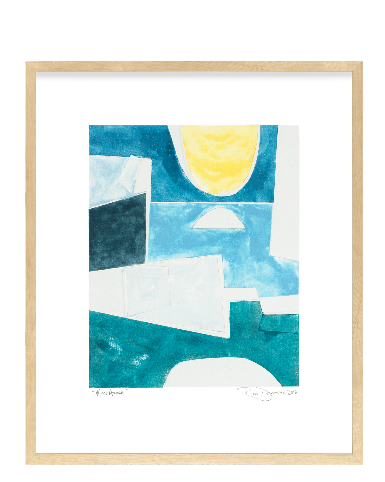 """Mood Azure"" by Rob Delamater, Maple Frame"