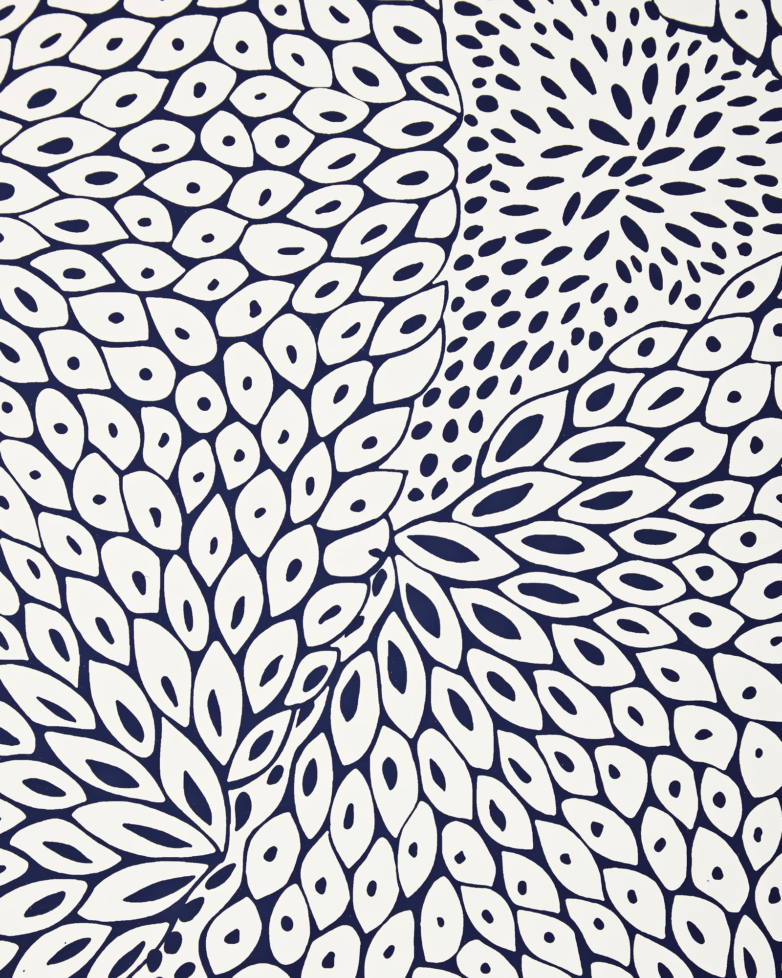 Dahlia Wallpaper - Navy