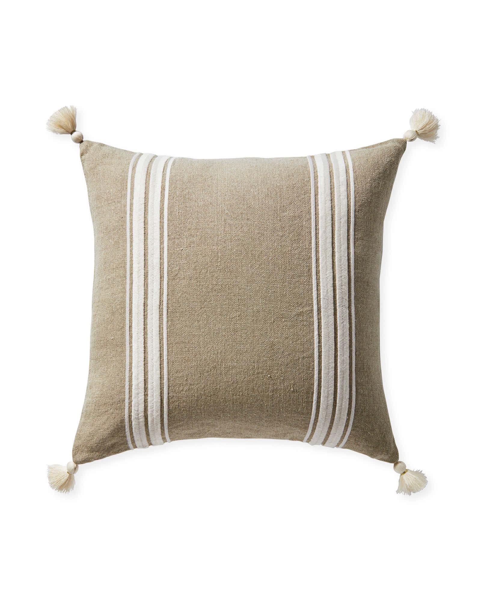 Addie Stripe Tassel Pillow Cover, Flax/Ivory