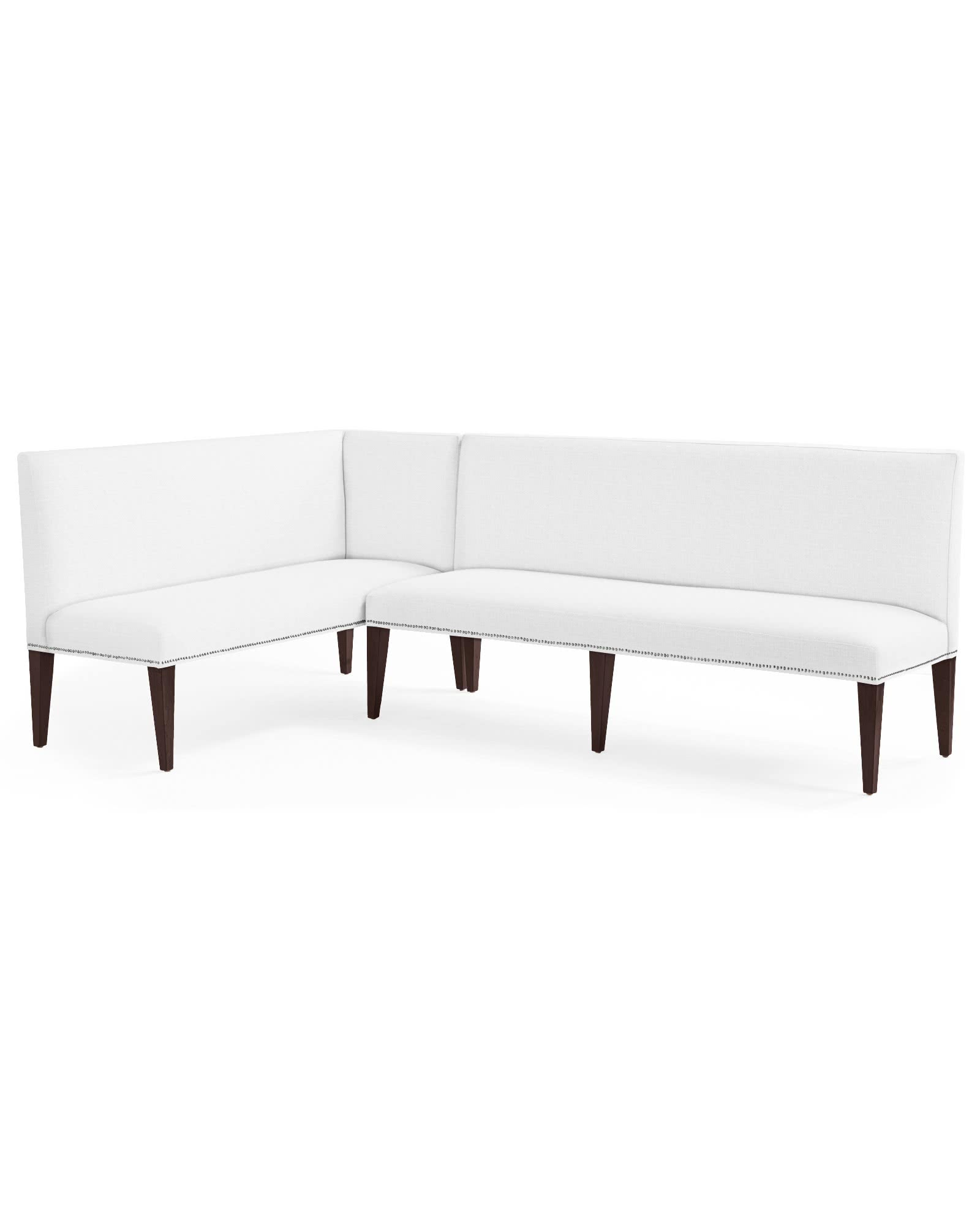 Ross Left-Facing Dining Banquette with Nailheads,