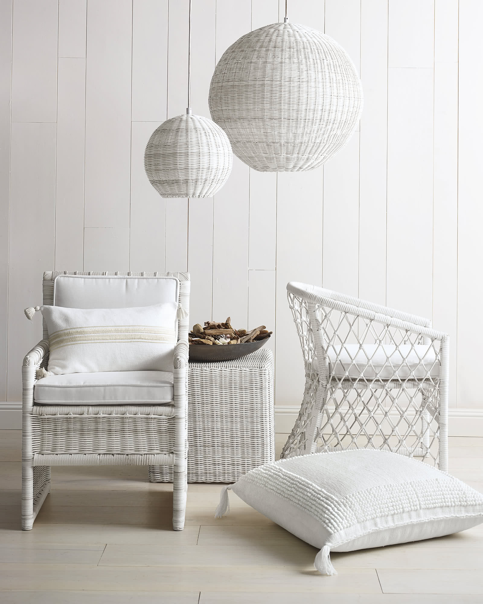 Pacifica Outdoor Dining Chair, White Cushion