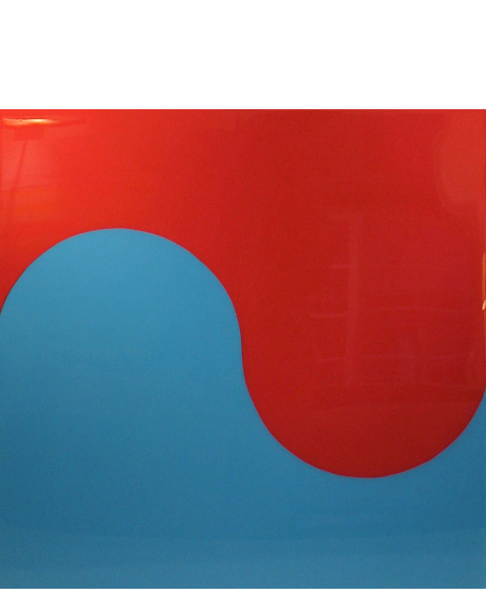 """Slow Curve in Fire Coral and Marine Blue"" by Stephanie Henderson,"