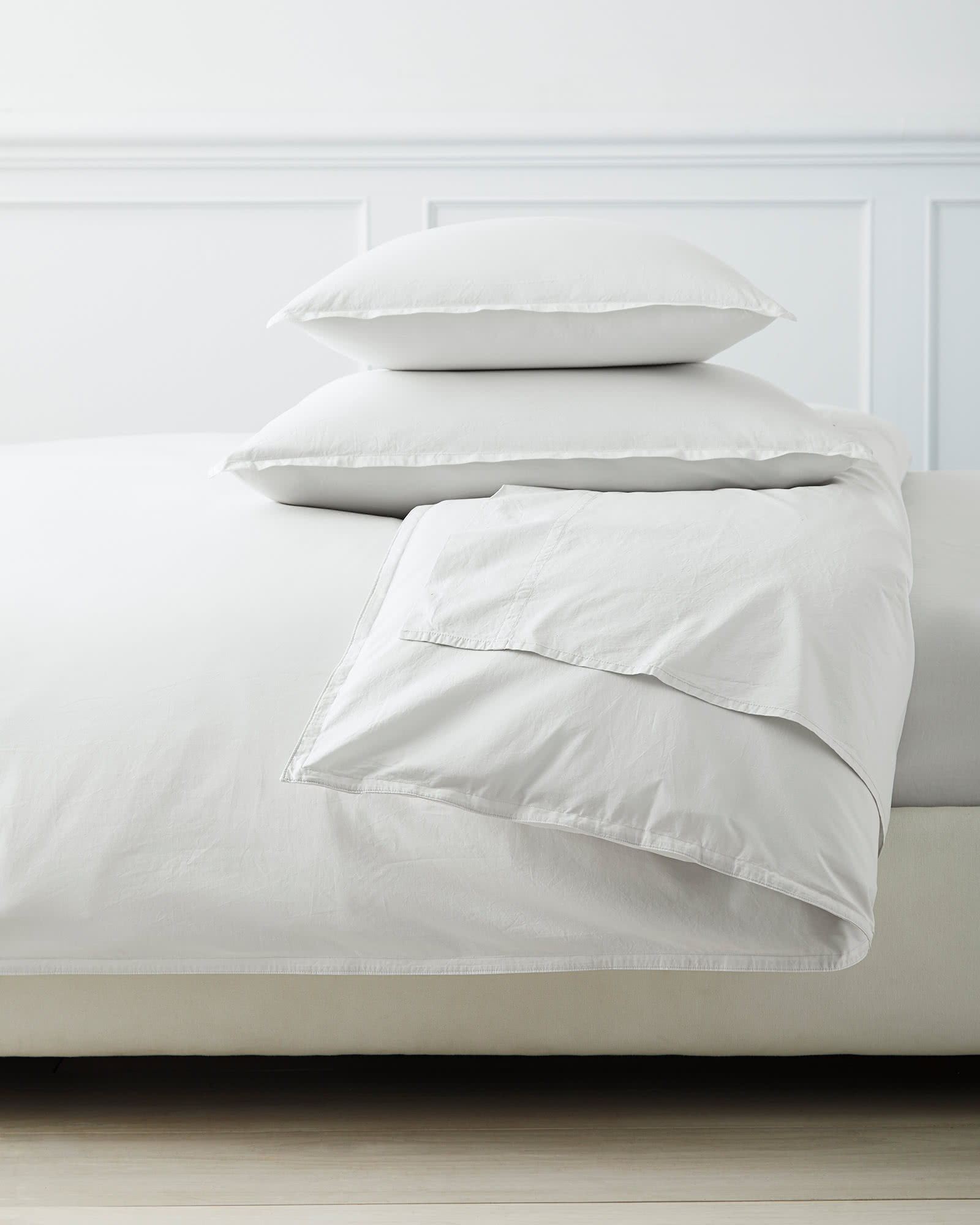 Portofino Washed Percale Duvet Cover, Fog