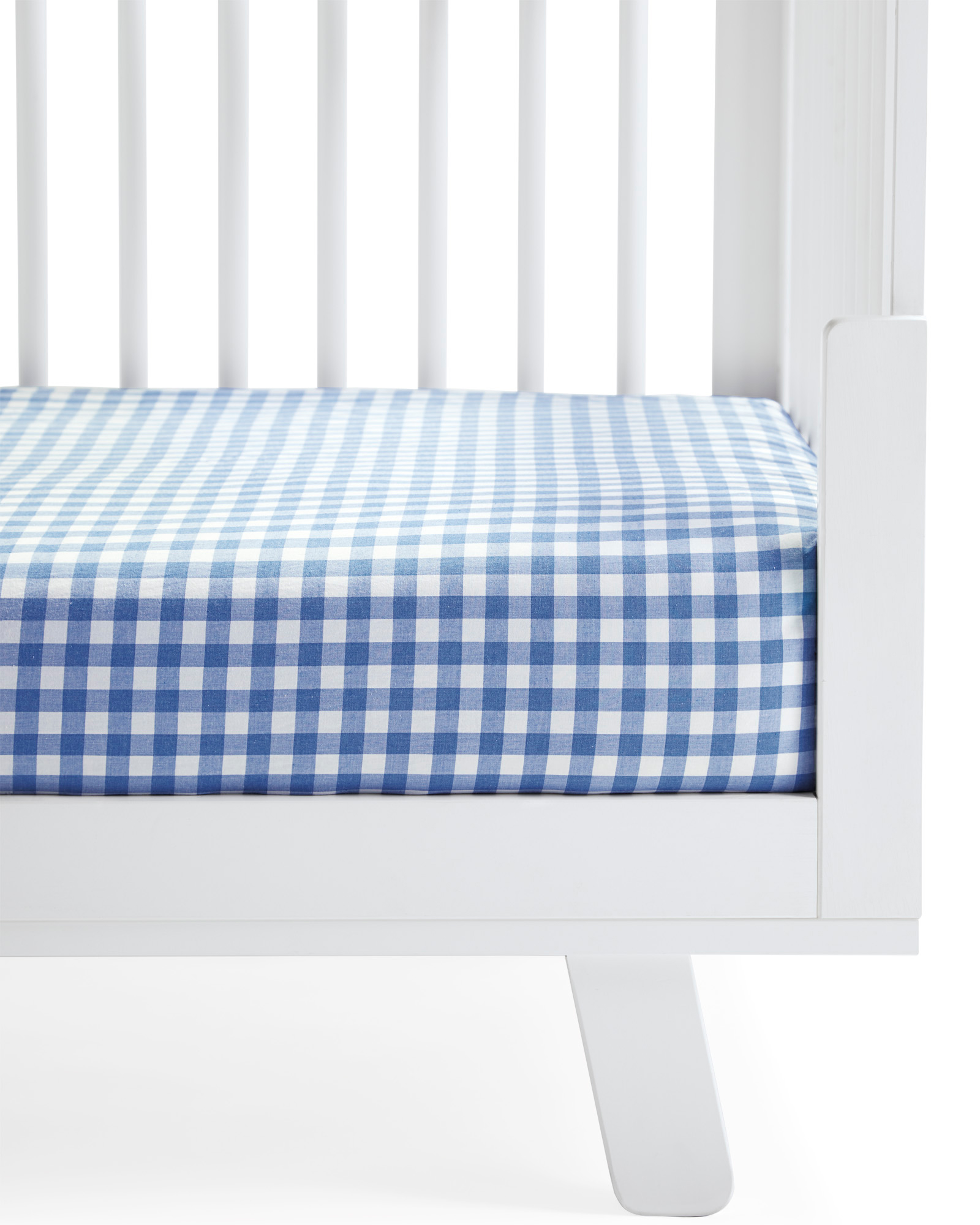 Gingham Crib Sheet, French Blue