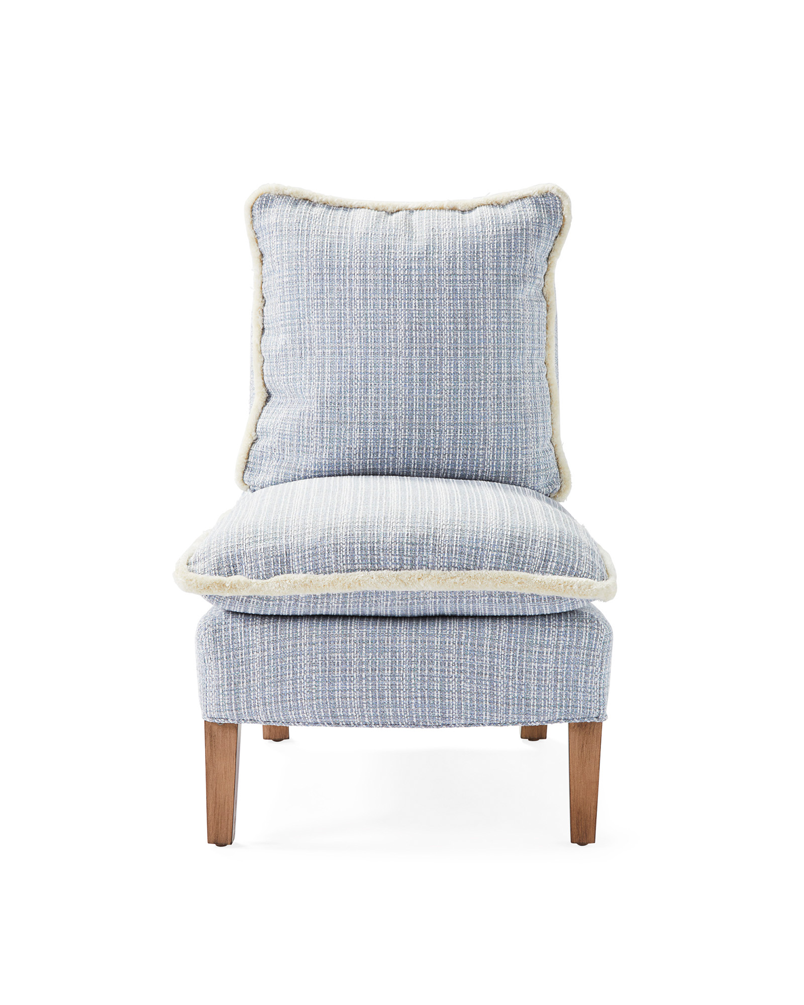 Watson Slipper Chair with Fringe, Perennials Rosemount Coastal Blue