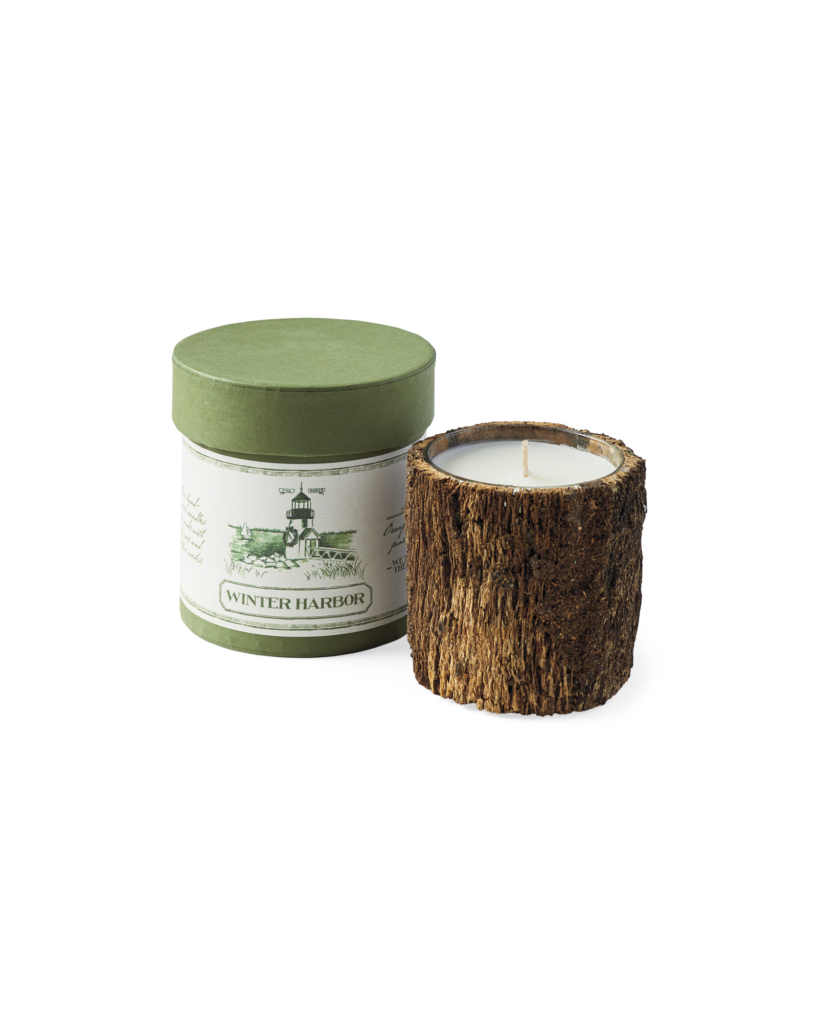 Winter Harbor Bark Candle,