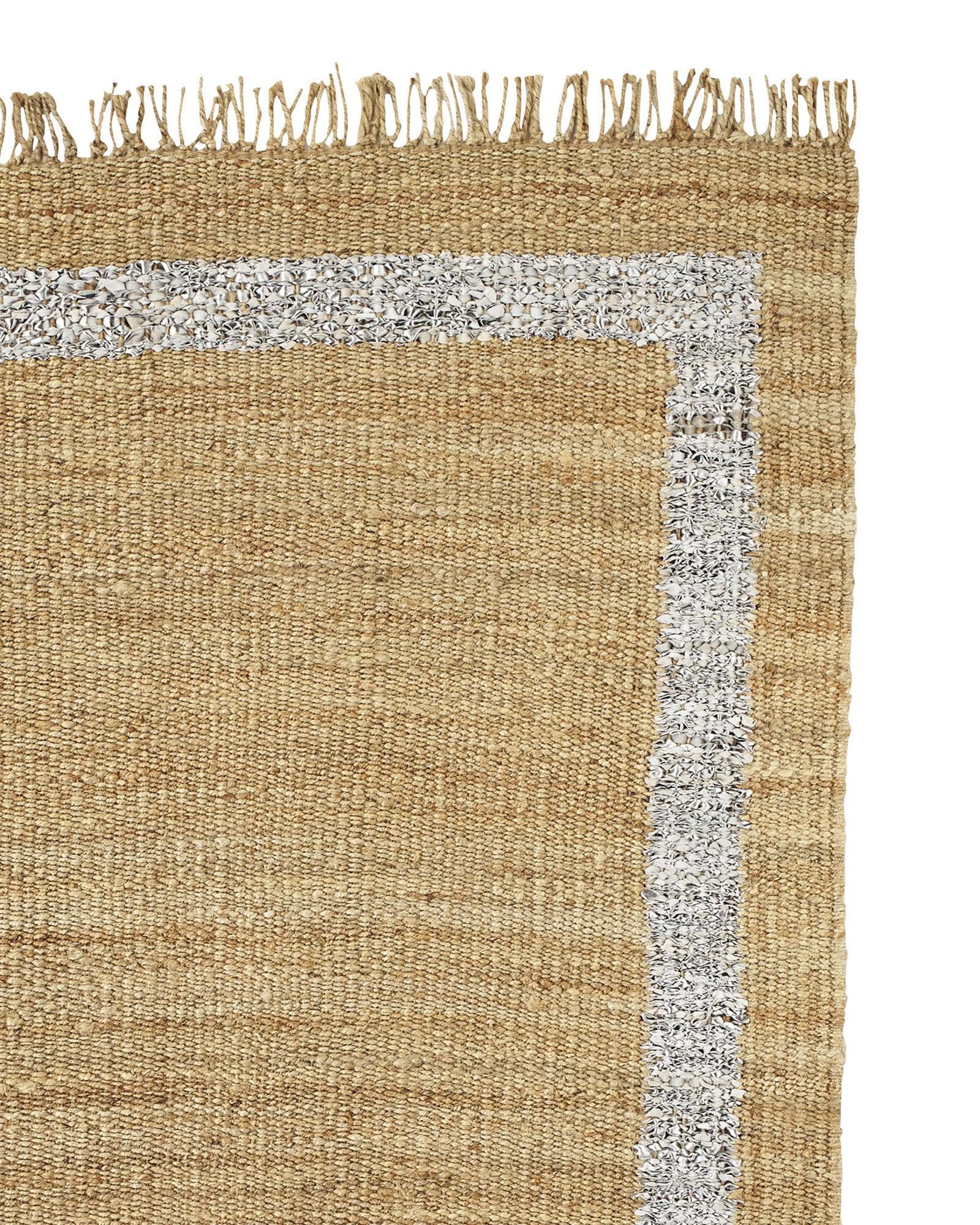 Jute Border Rug, Metallic Silver