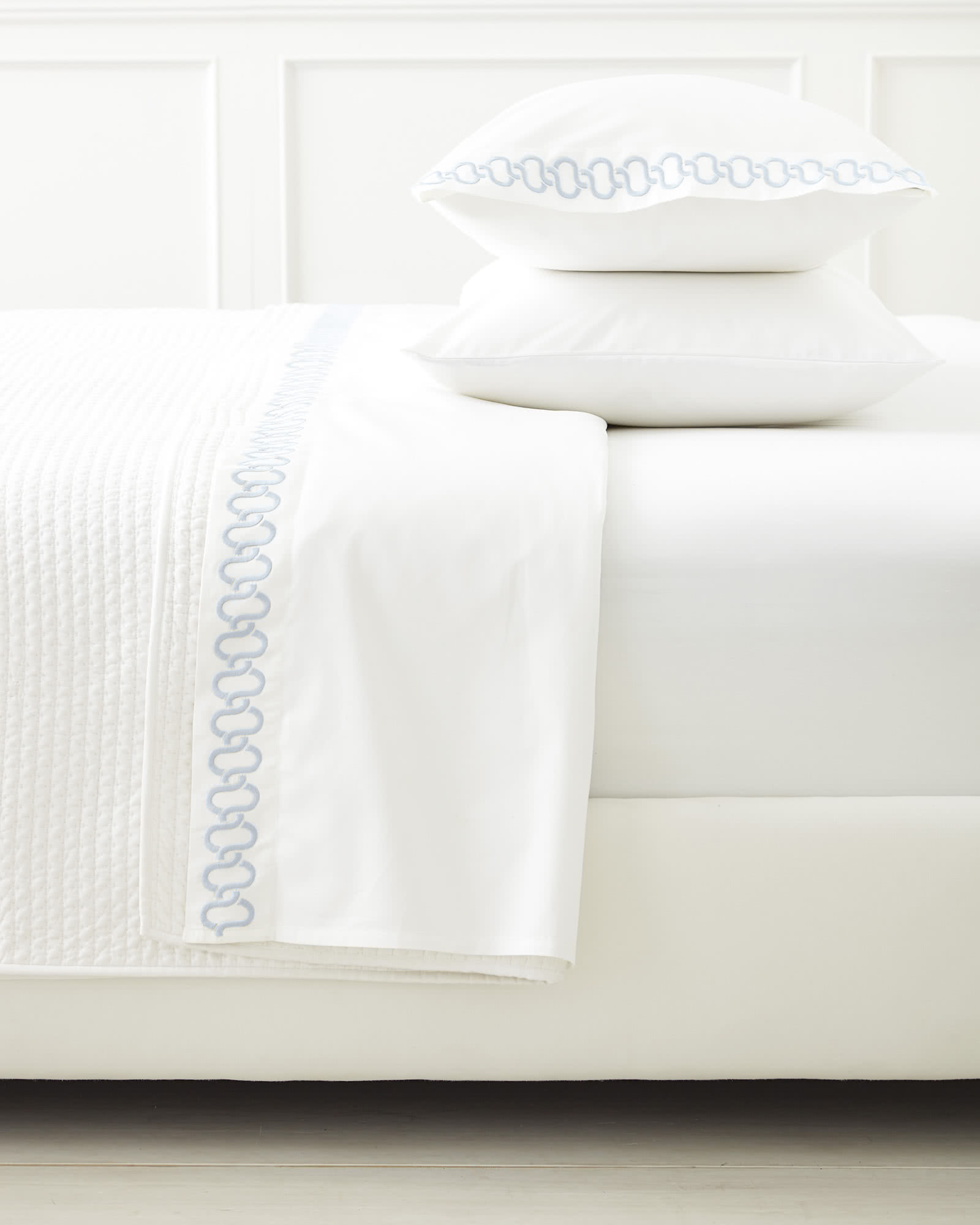 Savoy Embroidered Pillowcases (Extra Set of 2), Sky