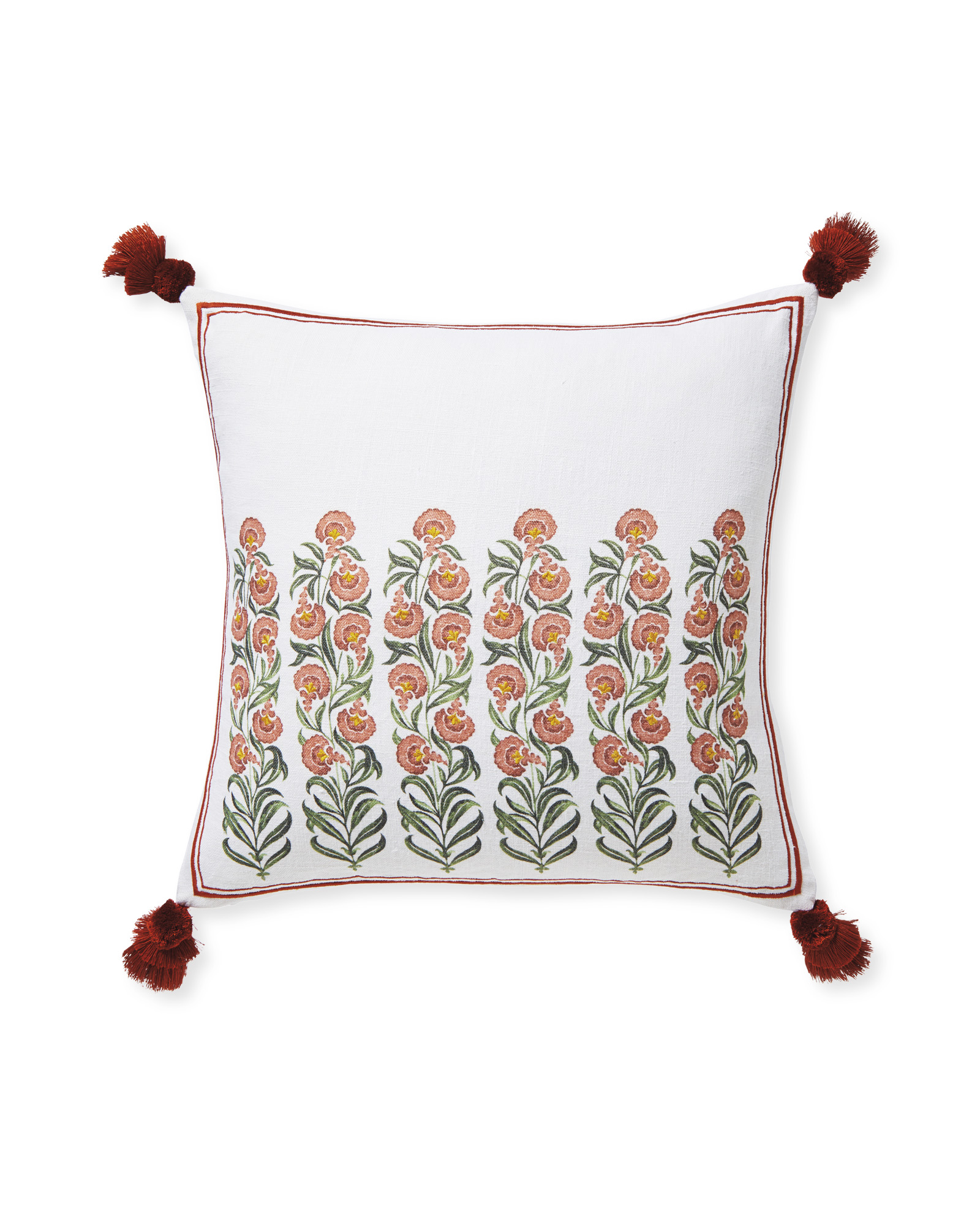 Millwood Pillow Cover, Terracotta/Evergreen