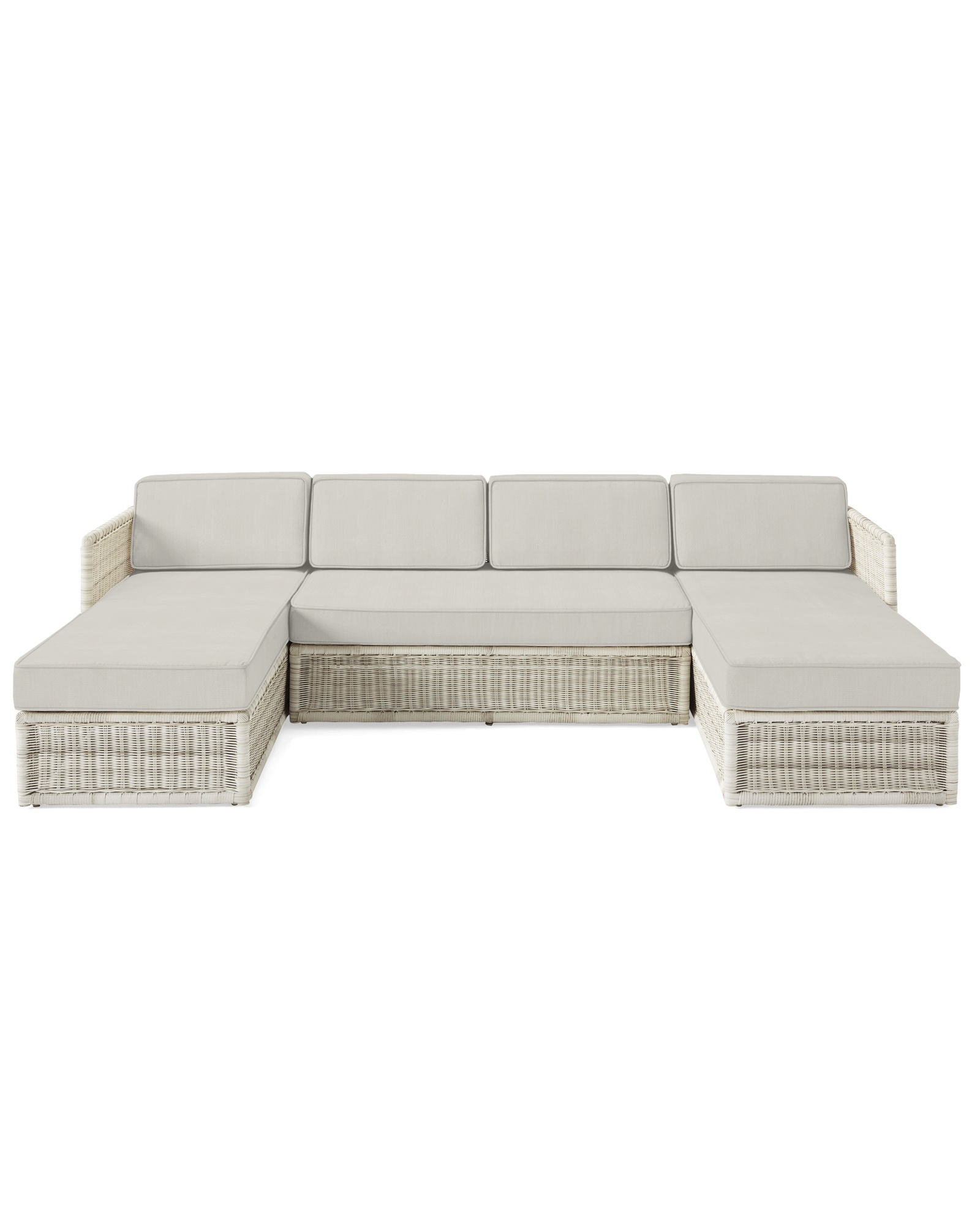 Cushion Cover for Pacifica U-Sectional, Perennials Basketweave Chalk