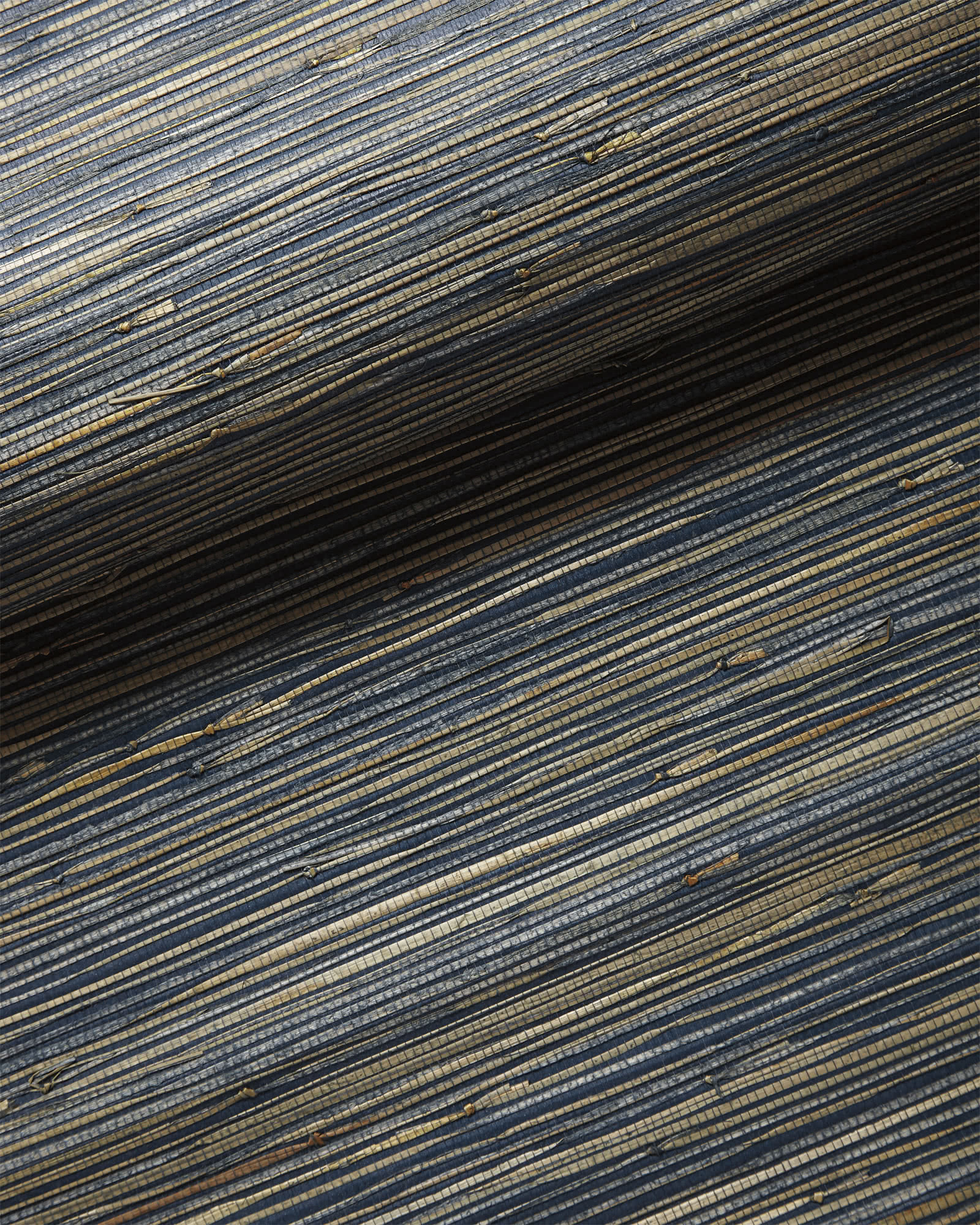 Grasscloth Wallcovering Swatch, Washed Indigo