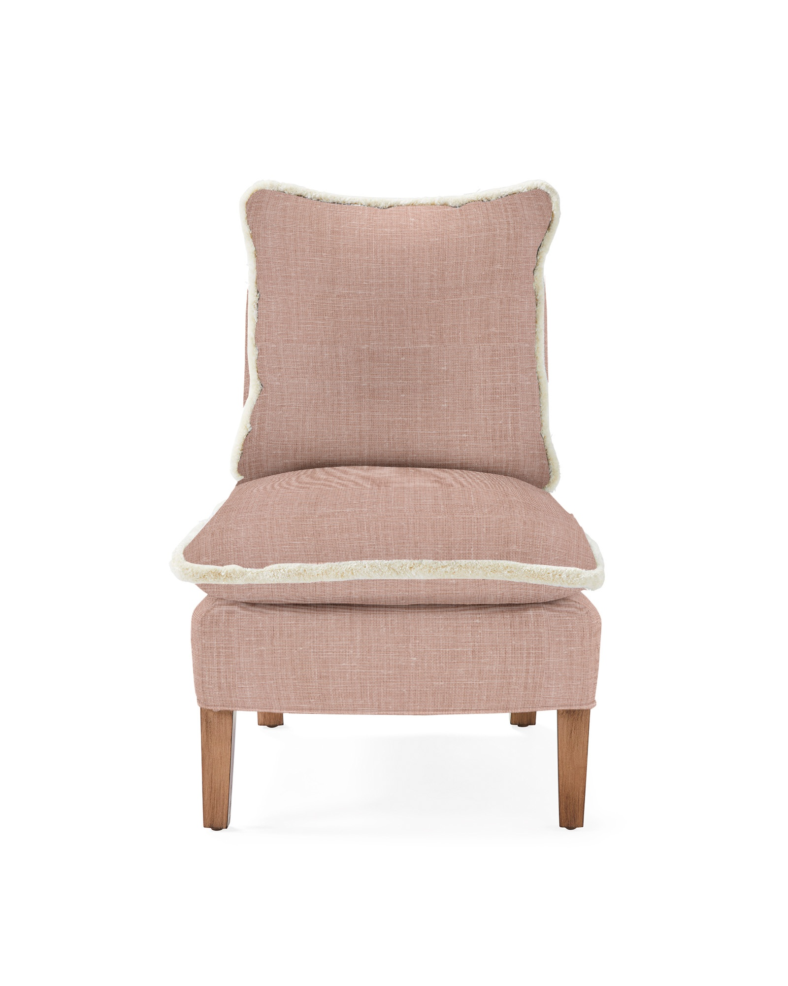 Watson Slipper Chair with Fringe, Washed Linen Blush