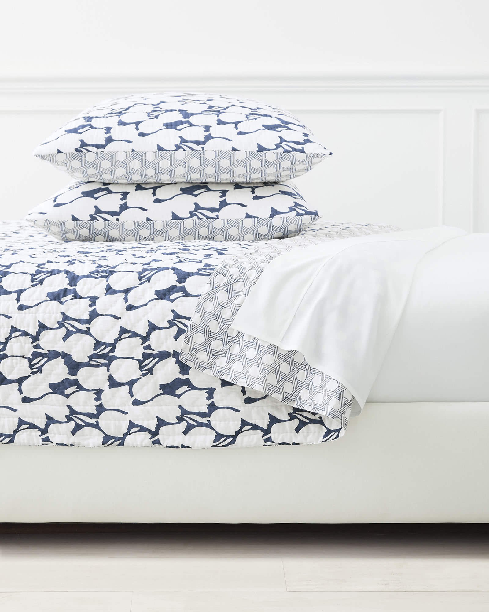 Cortina Quilted Shams, Navy