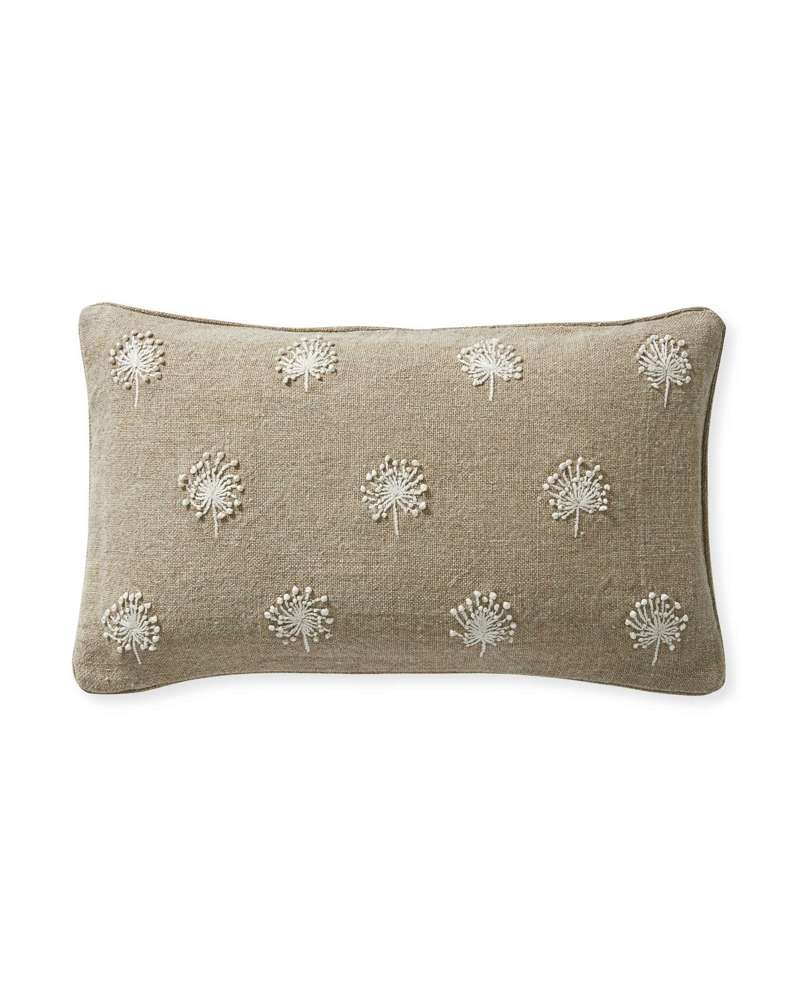 Dandelion Embroidered Pillow Cover, Ivory