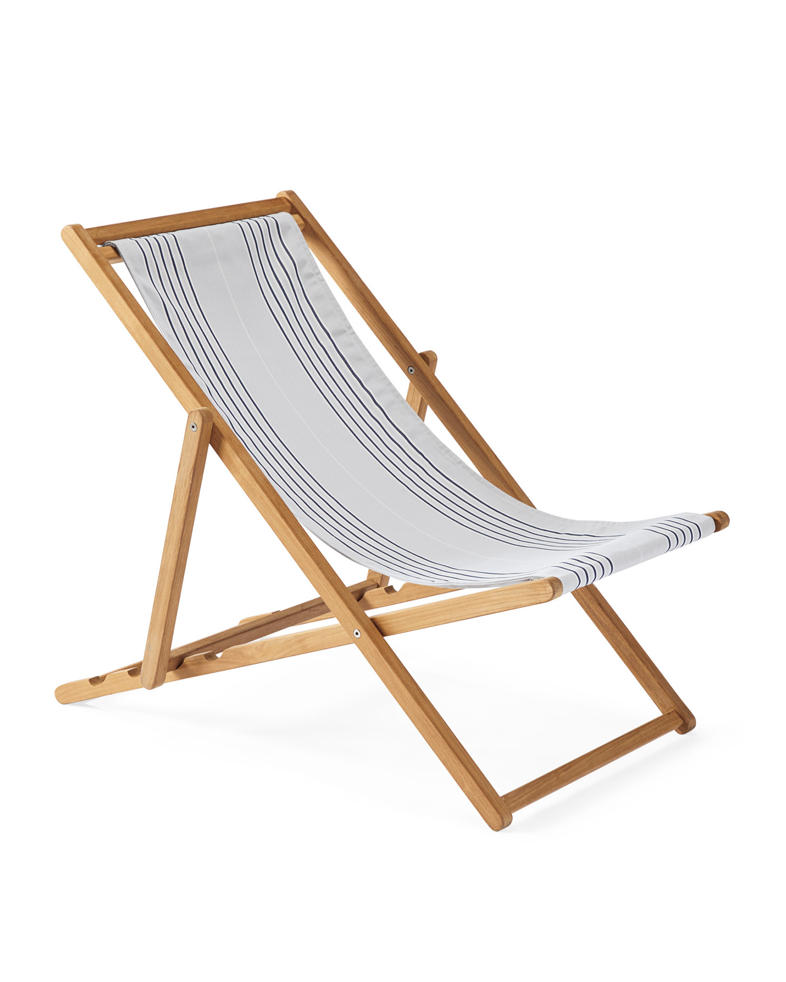 Teak Sling Chair, Perennials Lake Stripe Sky/Navy