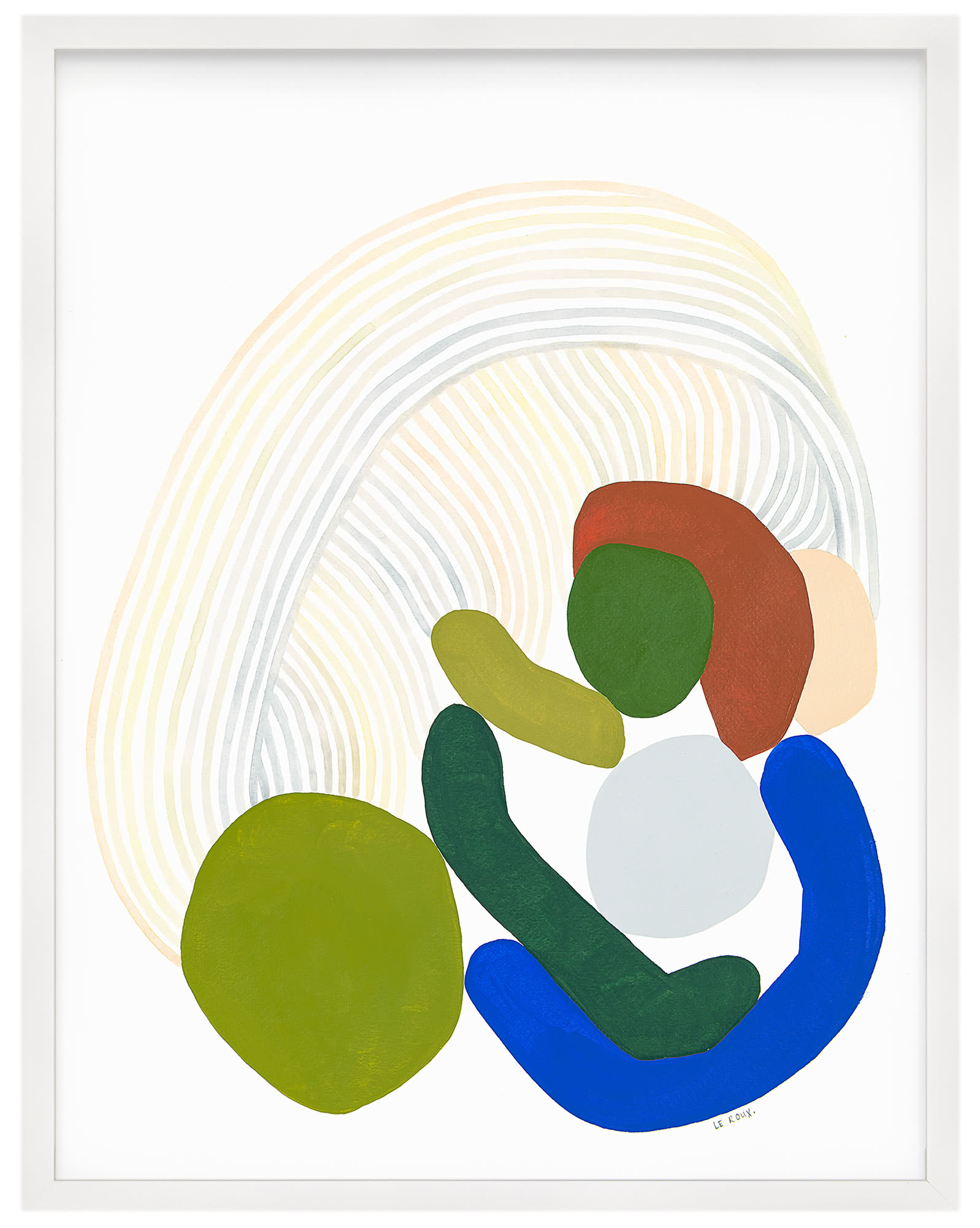 """""""Rainbows I"""" by Ruth Le Roux, White Frame"""