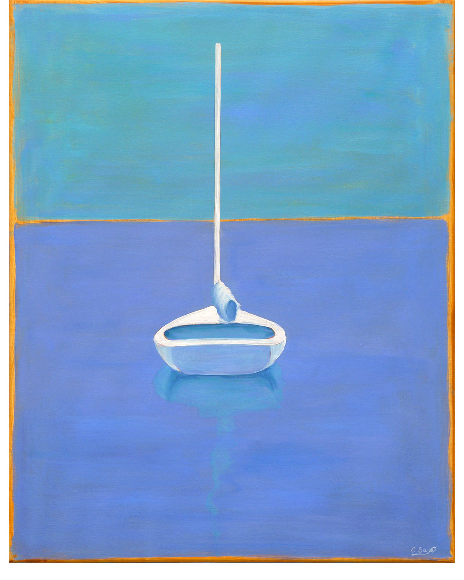"""Large Sailboat Stern"" by Carol Saxe,"