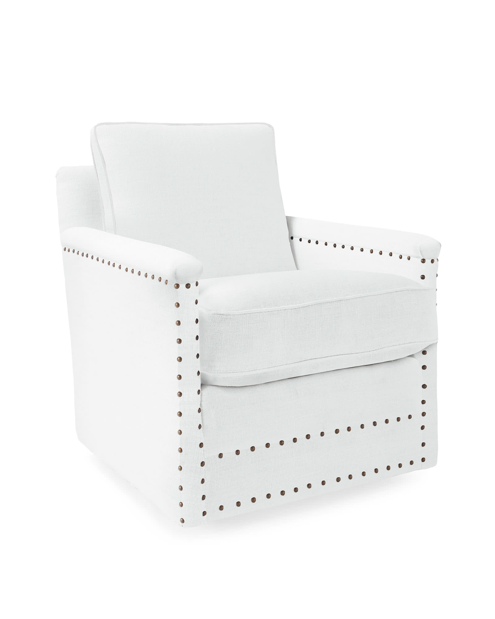 Spruce Street Swivel Chair with Nailheads,