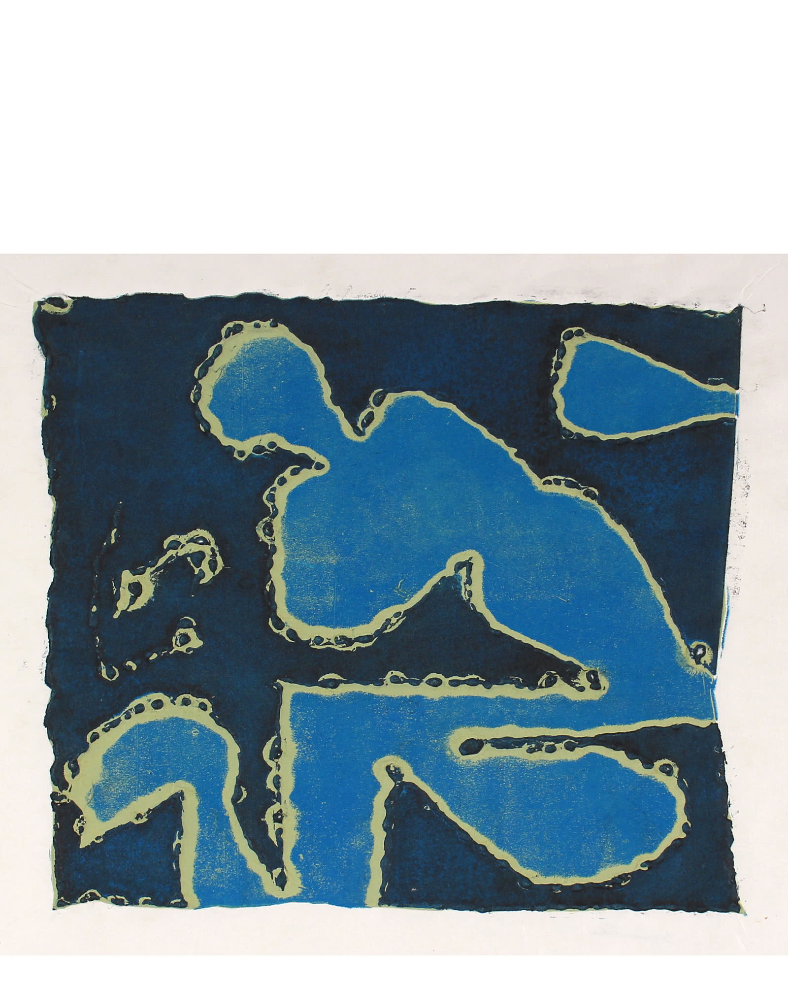 """Abstracted Collograph in Blue"" by Seymour Tubis,"