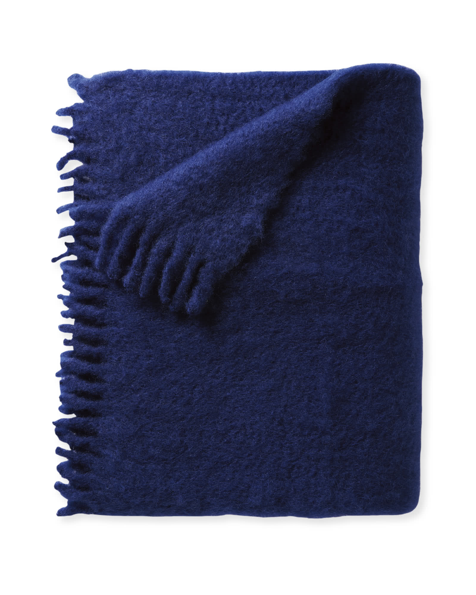 Albion Mohair Throw, Navy