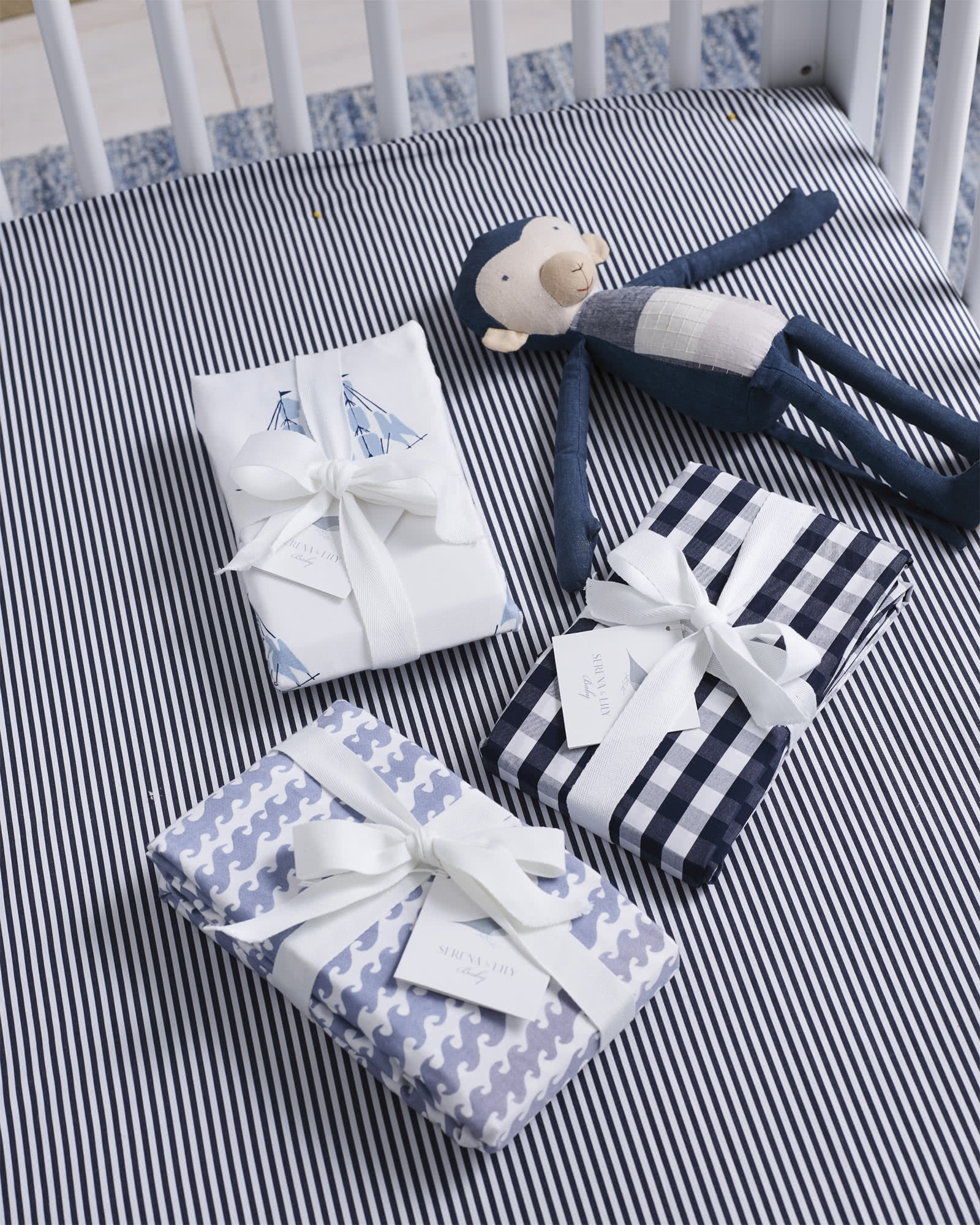 Oxford Stripe Crib Sheet, Midnight