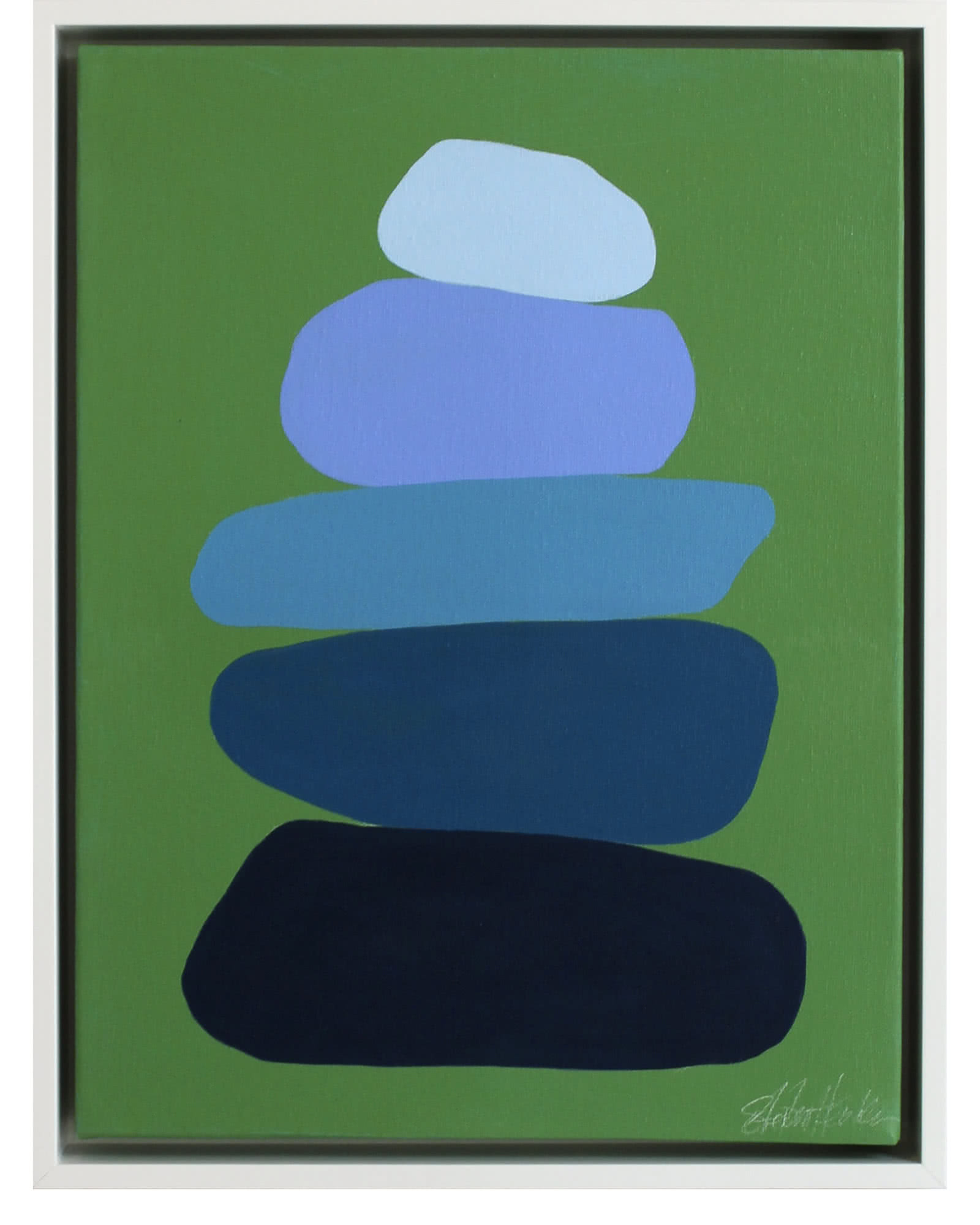 """""""Cairn in Blues on Grass Green"""" by Stephanie Henderson,"""
