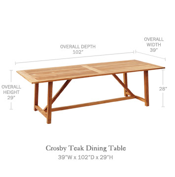 Crosby Teak Dining Table