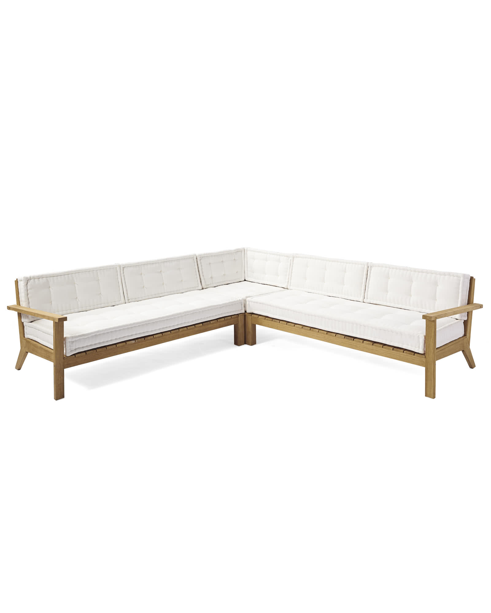 Cliffside Teak Sectional, White Cushion