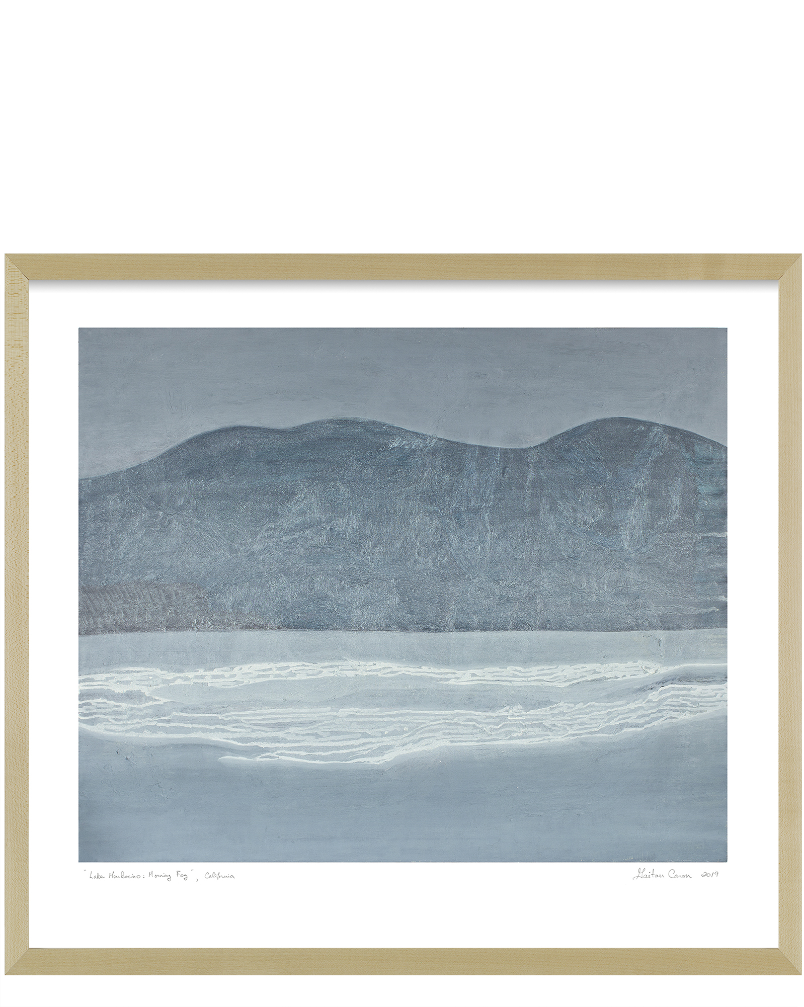 """Lake Mendocino: Morning Fog"" by Gaetan Caron, Maple Frame"
