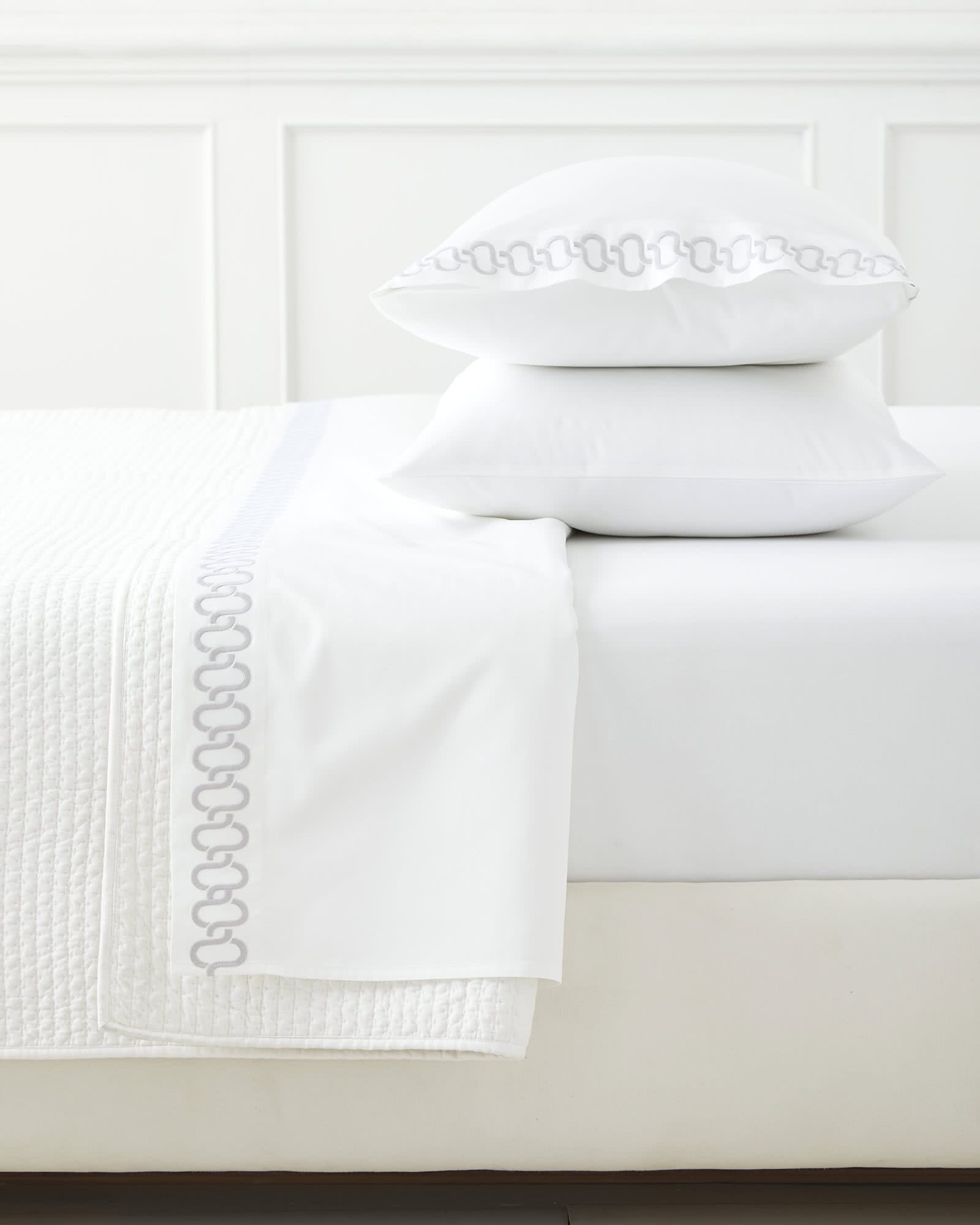 Savoy Embroidered Pillowcases (Extra Set of 2), Fog
