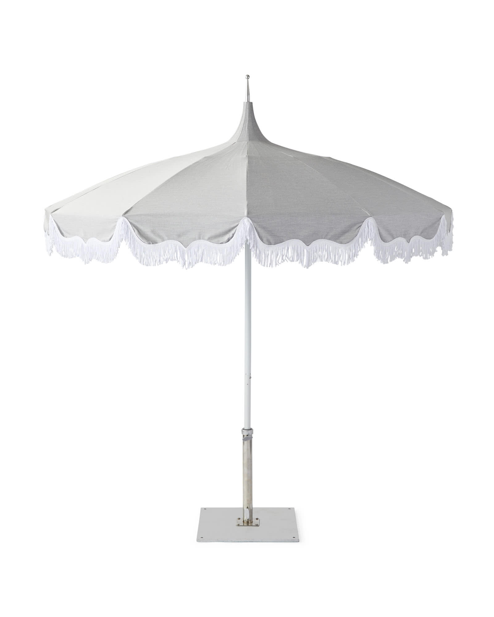 Fringed Umbrella, Granite/White