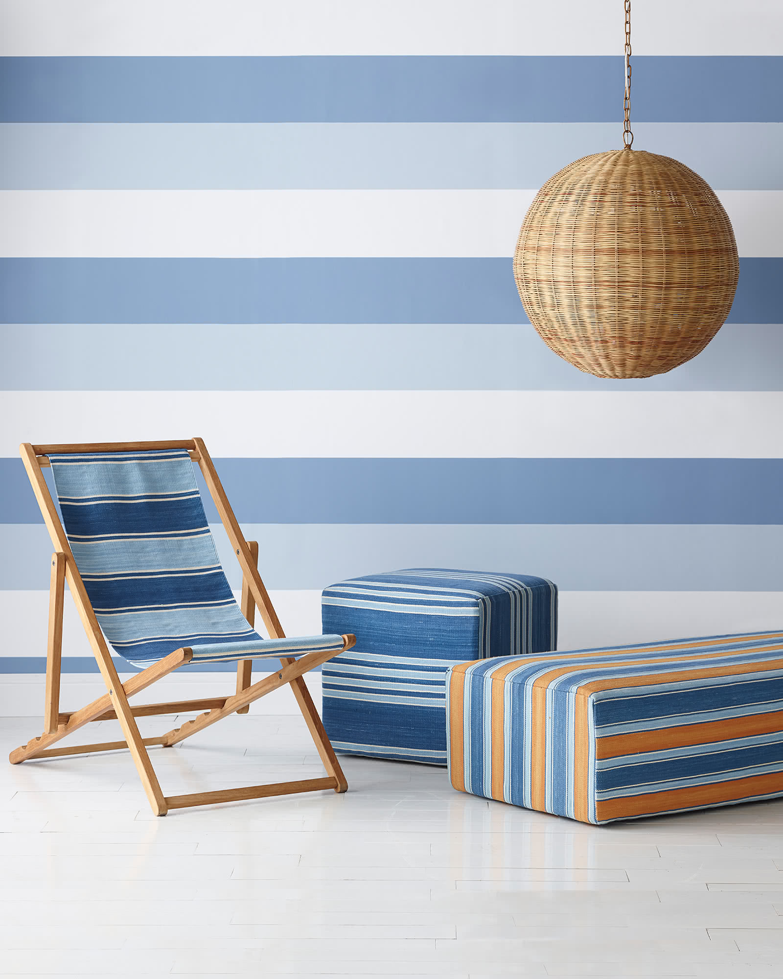 Coastal Stripe Wallpaper, Blue