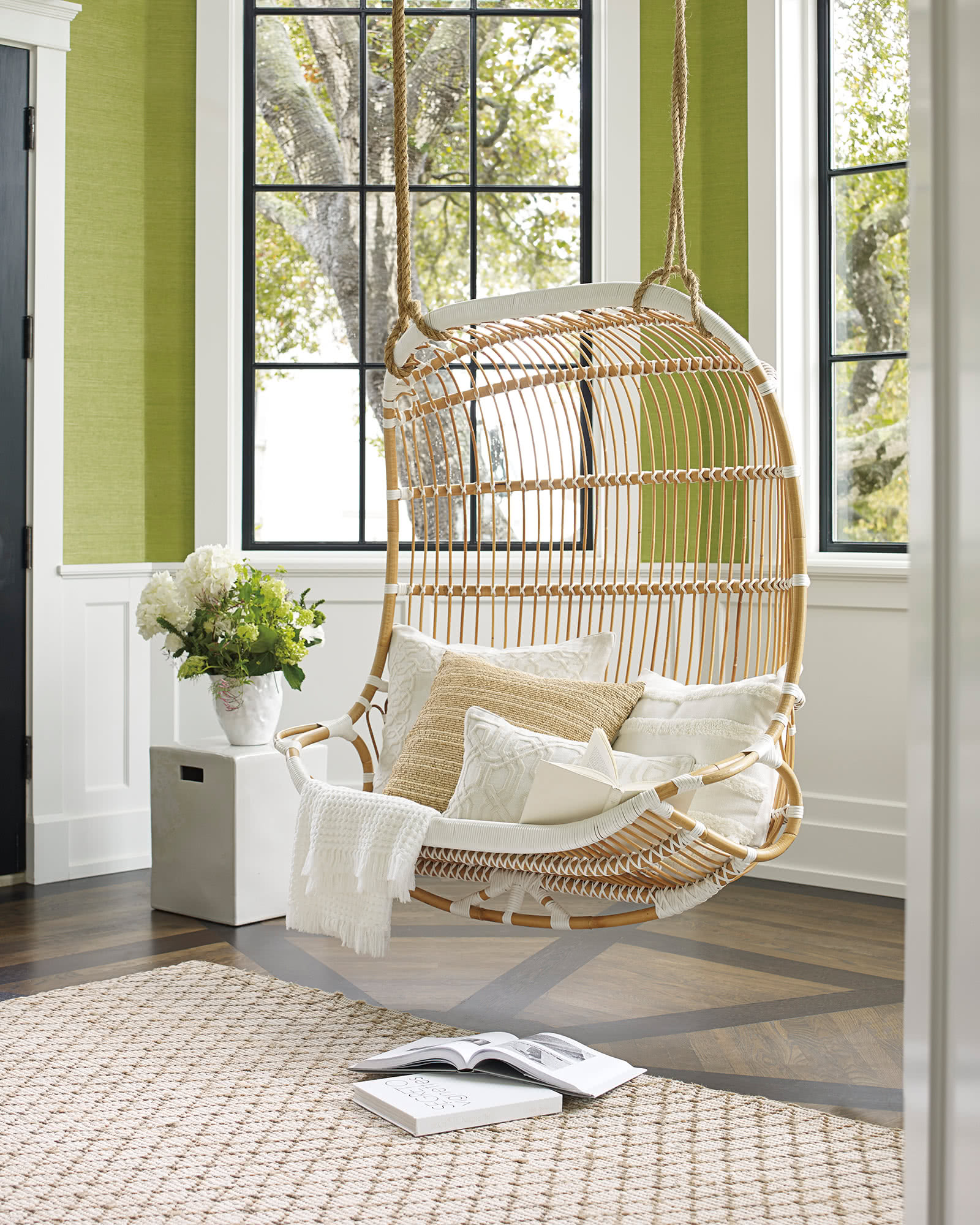 Double Rattan Hanging Chair Swing