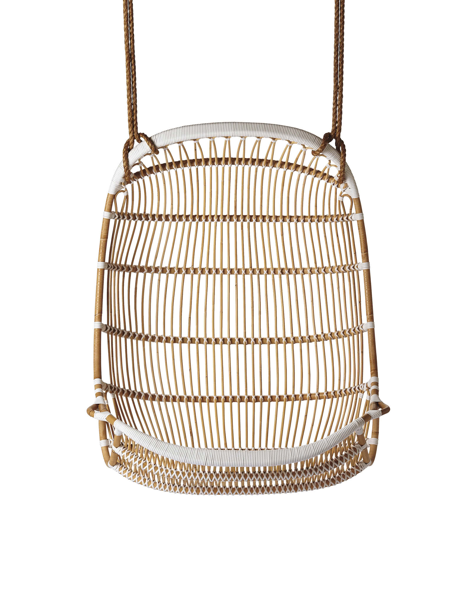 Double hanging rattan chair chairs serena and lily for Hanging chair images