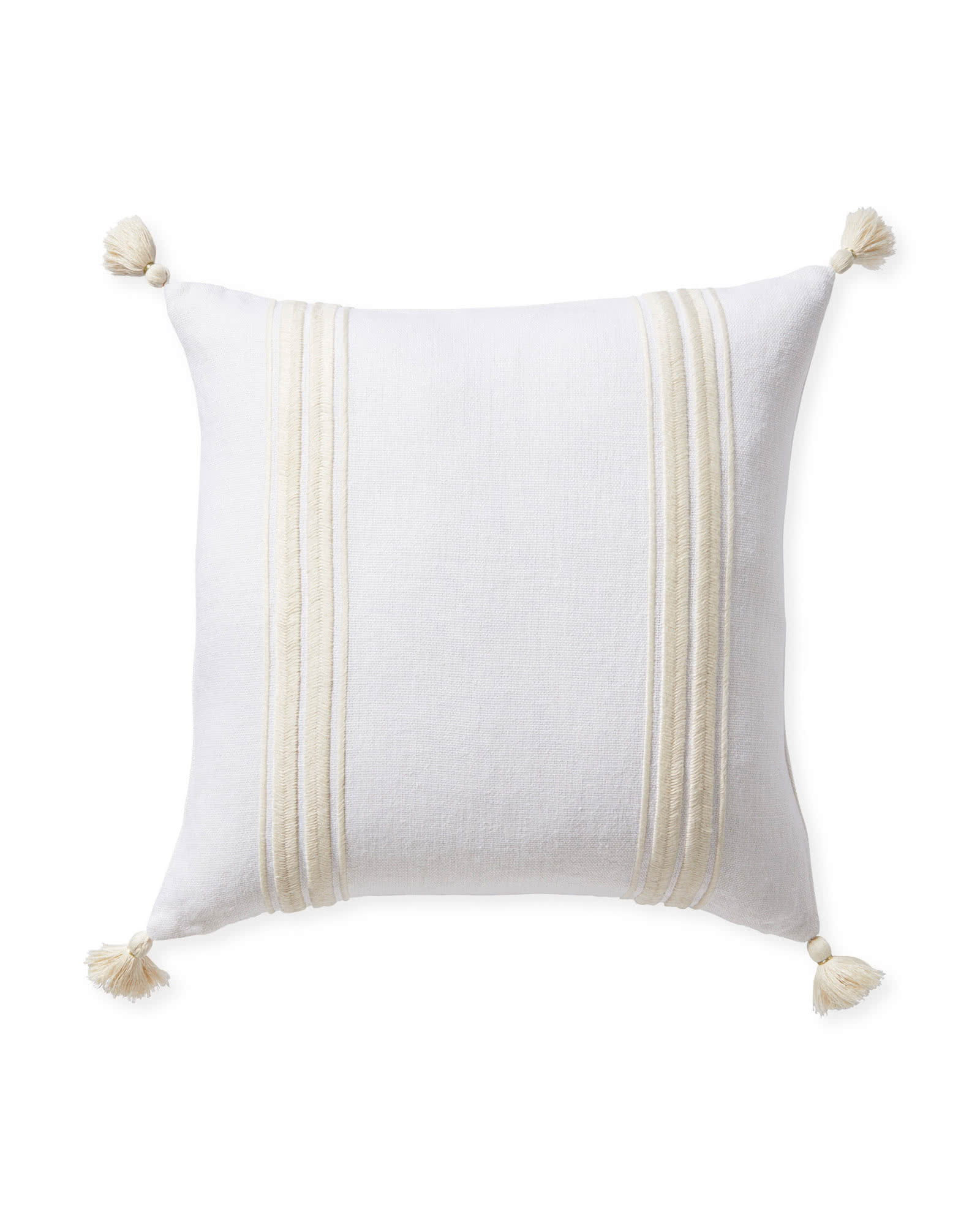 Addie Stripe Tassel Pillow Cover, White/Ivory