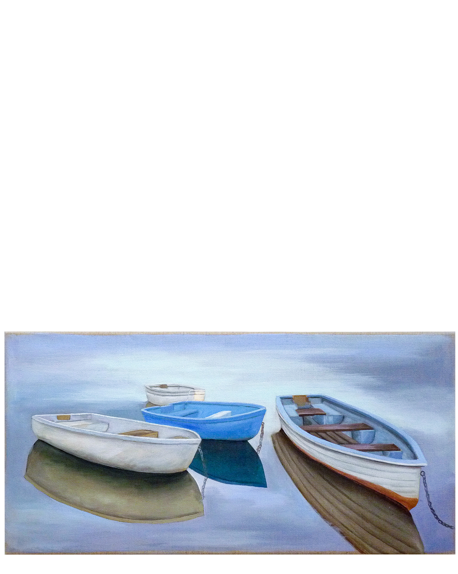 """Moored Dinghies on Linen"""" by Carol Saxe,"""